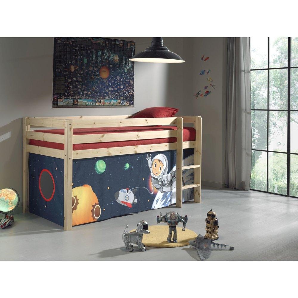 Pat etajat din lemn de pin, cu spatiu de joaca pentru copii Pino Space Natural, 200 x 90 cm imagine