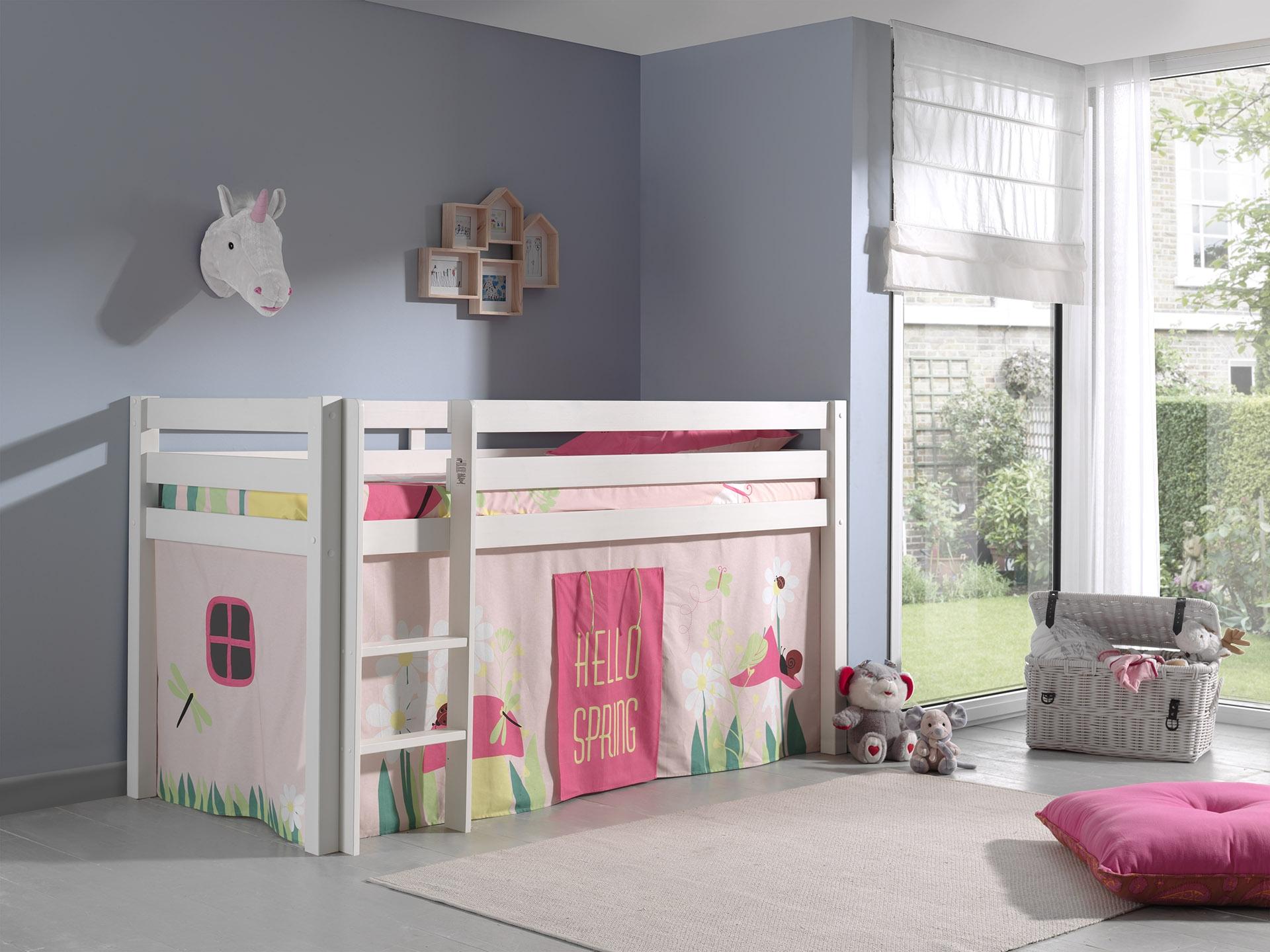 Pat etajat din lemn de pin, cu spatiu de joaca pentru copii Pino Spring Alb, 200 x 90 cm