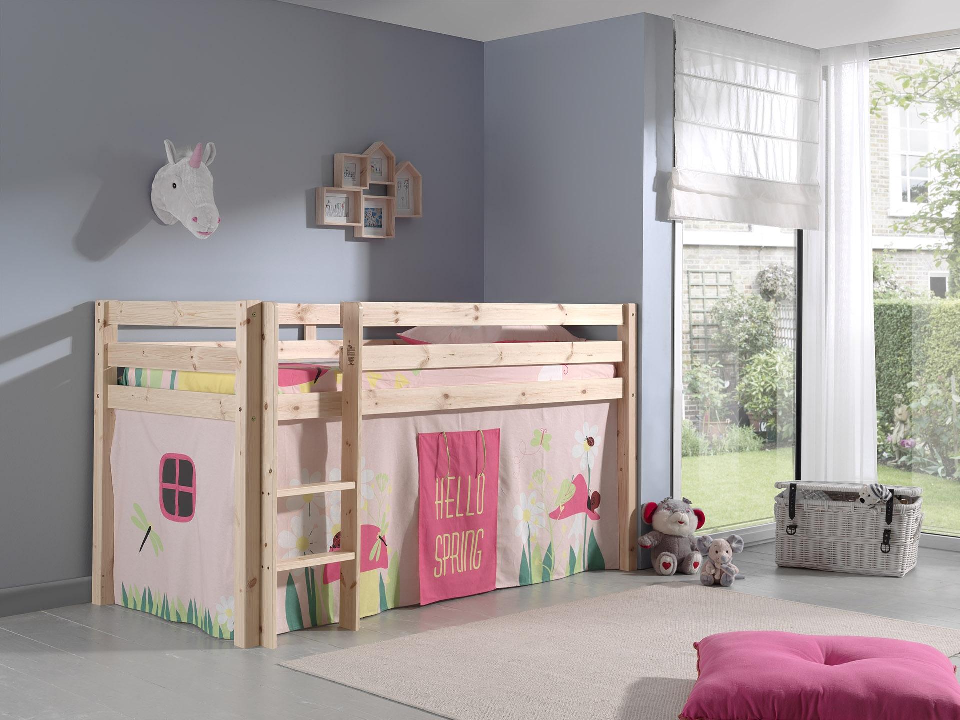 Pat etajat din lemn de pin, cu spatiu de joaca pentru copii Pino Spring Natural, 200 x 90 cm