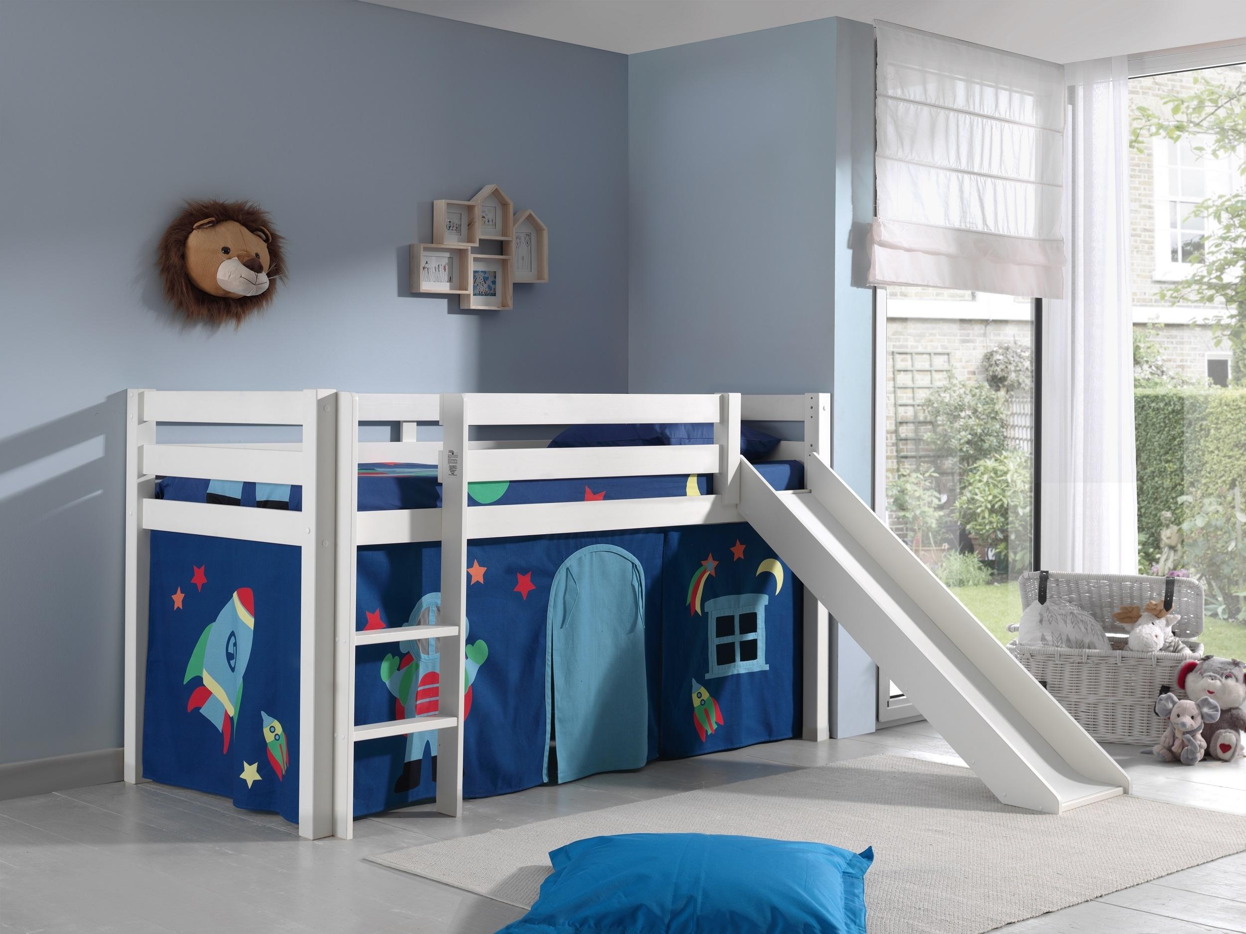 Pat etajat din lemn de pin, cu tobogan pentru copii Pino Astro Alb, 200 x 90 cm