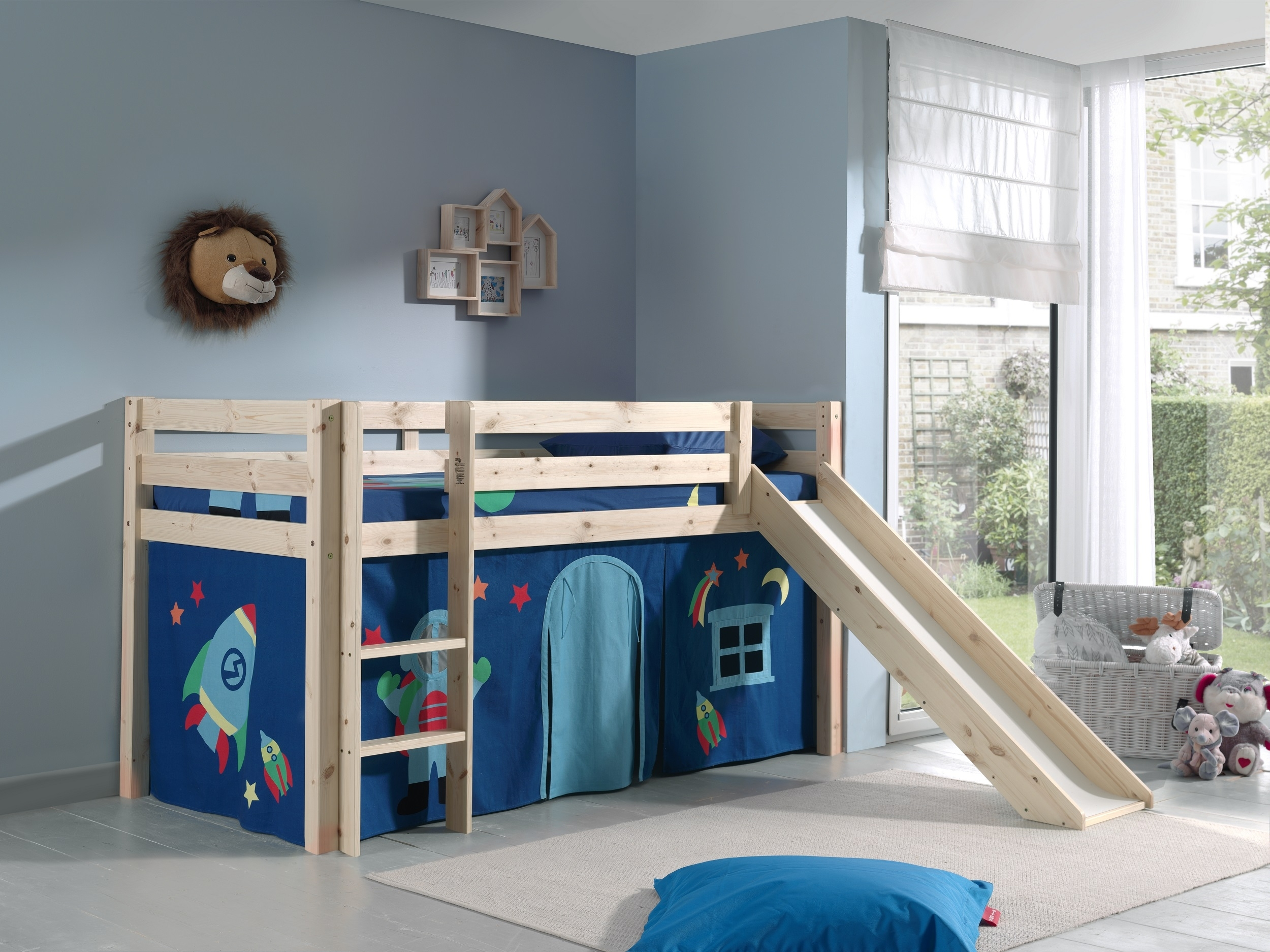 Pat etajat din lemn de pin, cu tobogan pentru copii Pino Astro Natural, 200 x 90 cm imagine