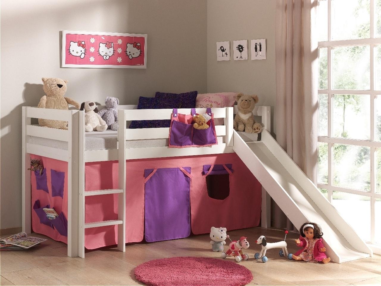 Pat etajat din lemn de pin, cu tobogan pentru copii Pino Bella Pink Alb, 200 x 90 cm
