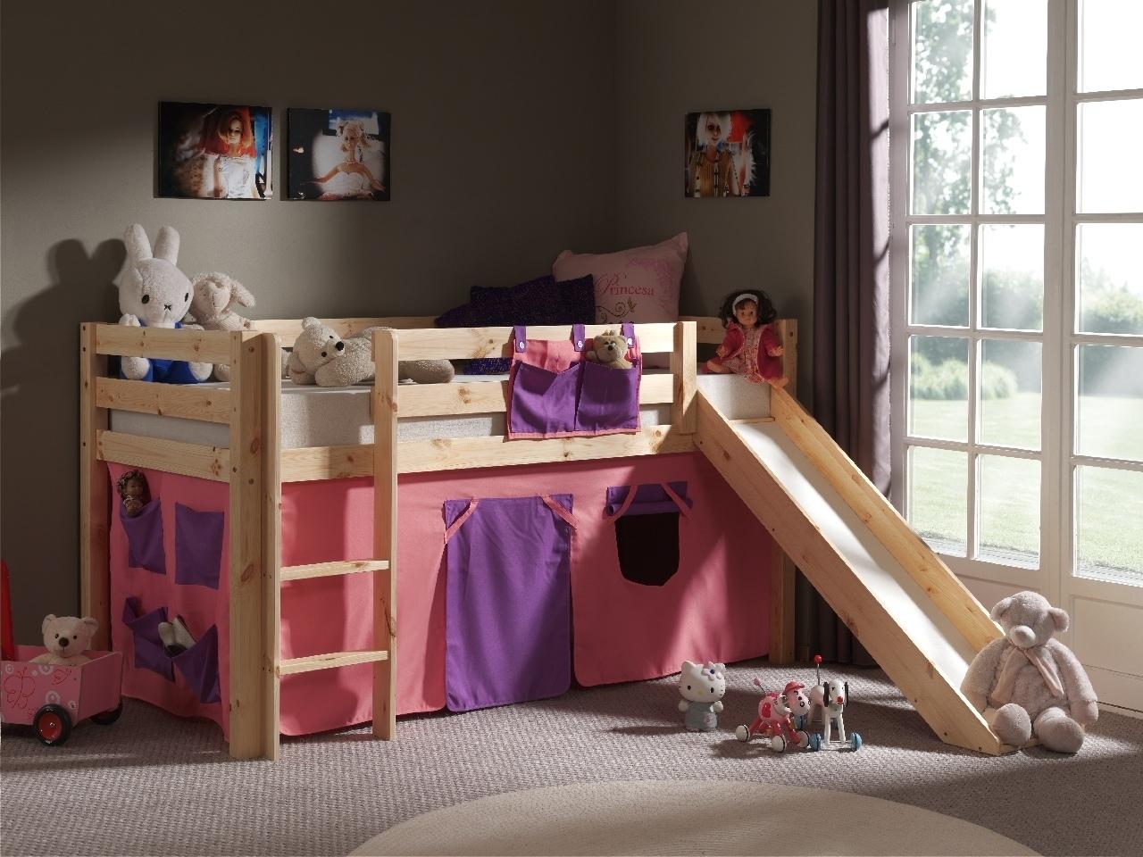Pat etajat din lemn de pin, cu tobogan pentru copii Pino Bella Pink Natural, 200 x 90 cm