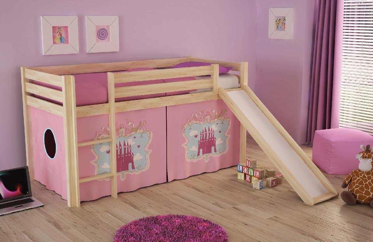 Pat etajat din lemn de pin, cu tobogan pentru copii Pino Castle Natural, 200 x 90 cm imagine