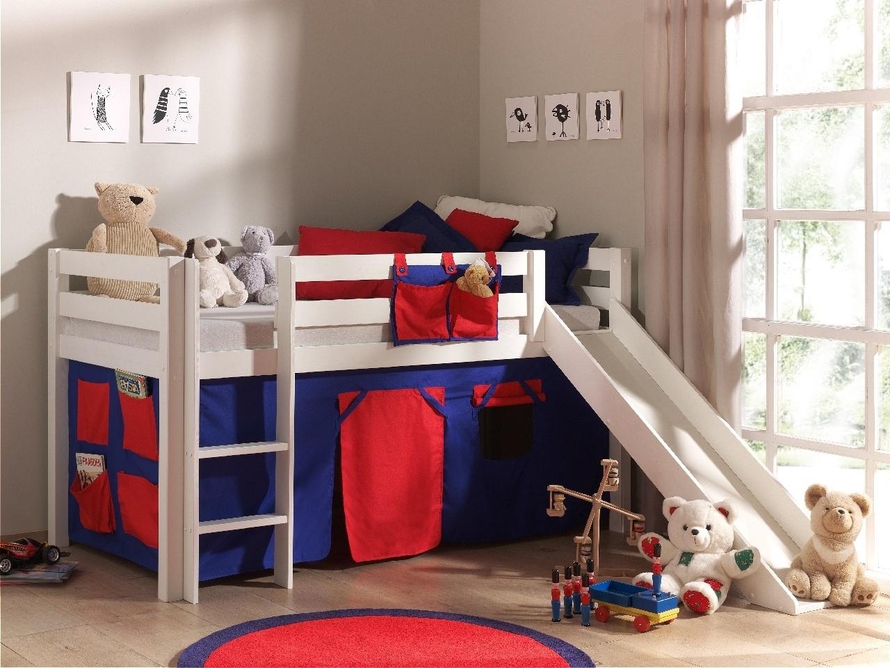 Pat etajat din lemn de pin, cu tobogan pentru copii Pino Domino Alb, 200 x 90 cm