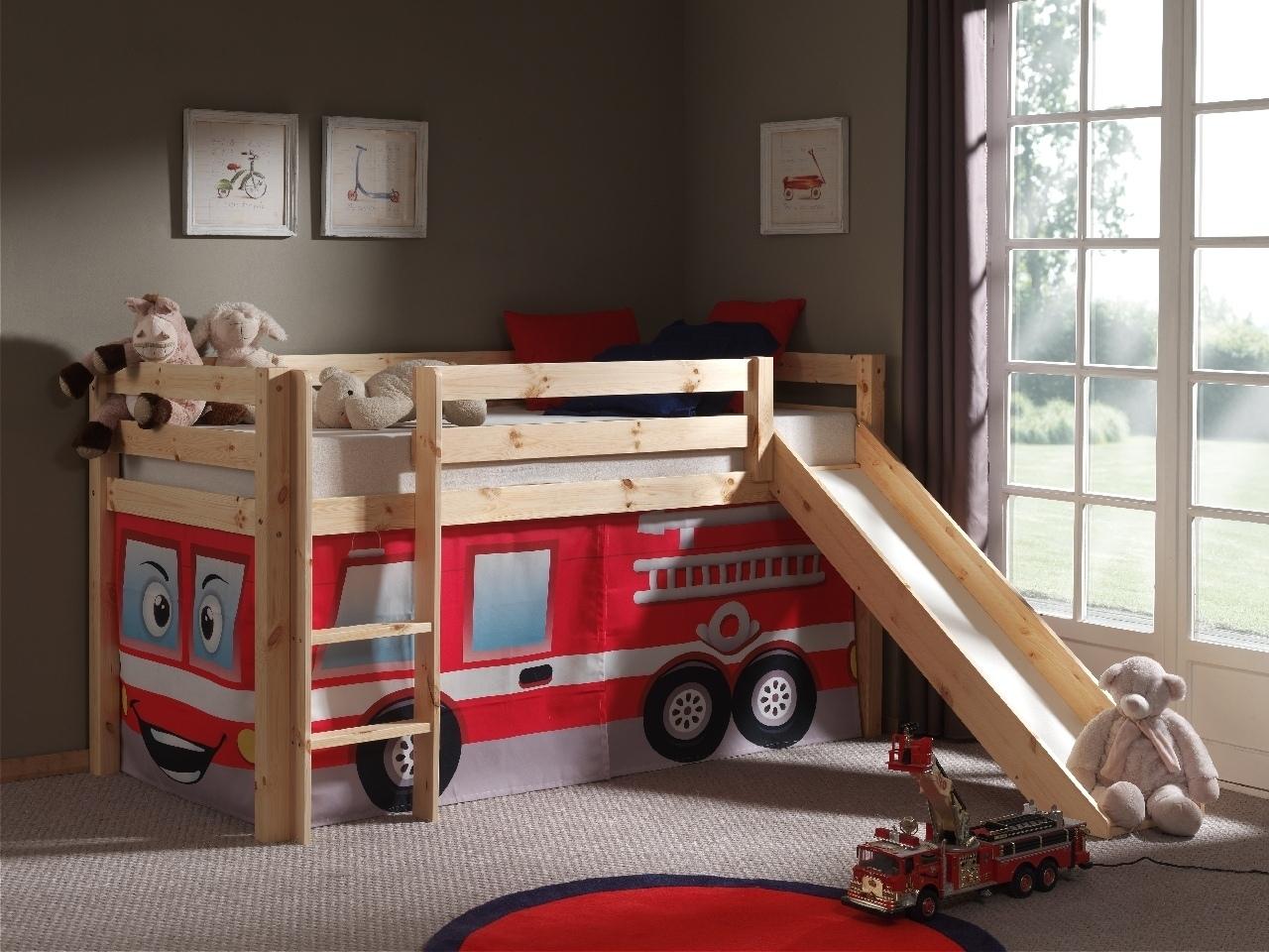 Pat etajat din lemn de pin, cu tobogan pentru copii Pino Fire Rescue Natural, 200 x 90 cm imagine