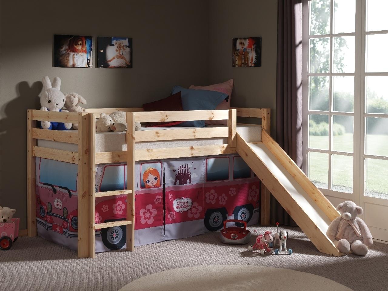 Pat etajat din lemn de pin, cu tobogan pentru copii Pino Little Princess Natural, 200 x 90 cm
