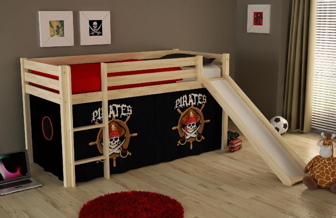 Pat etajat din lemn de pin, cu tobogan pentru copii Pino Pirates Natural, 200 x 90 cm