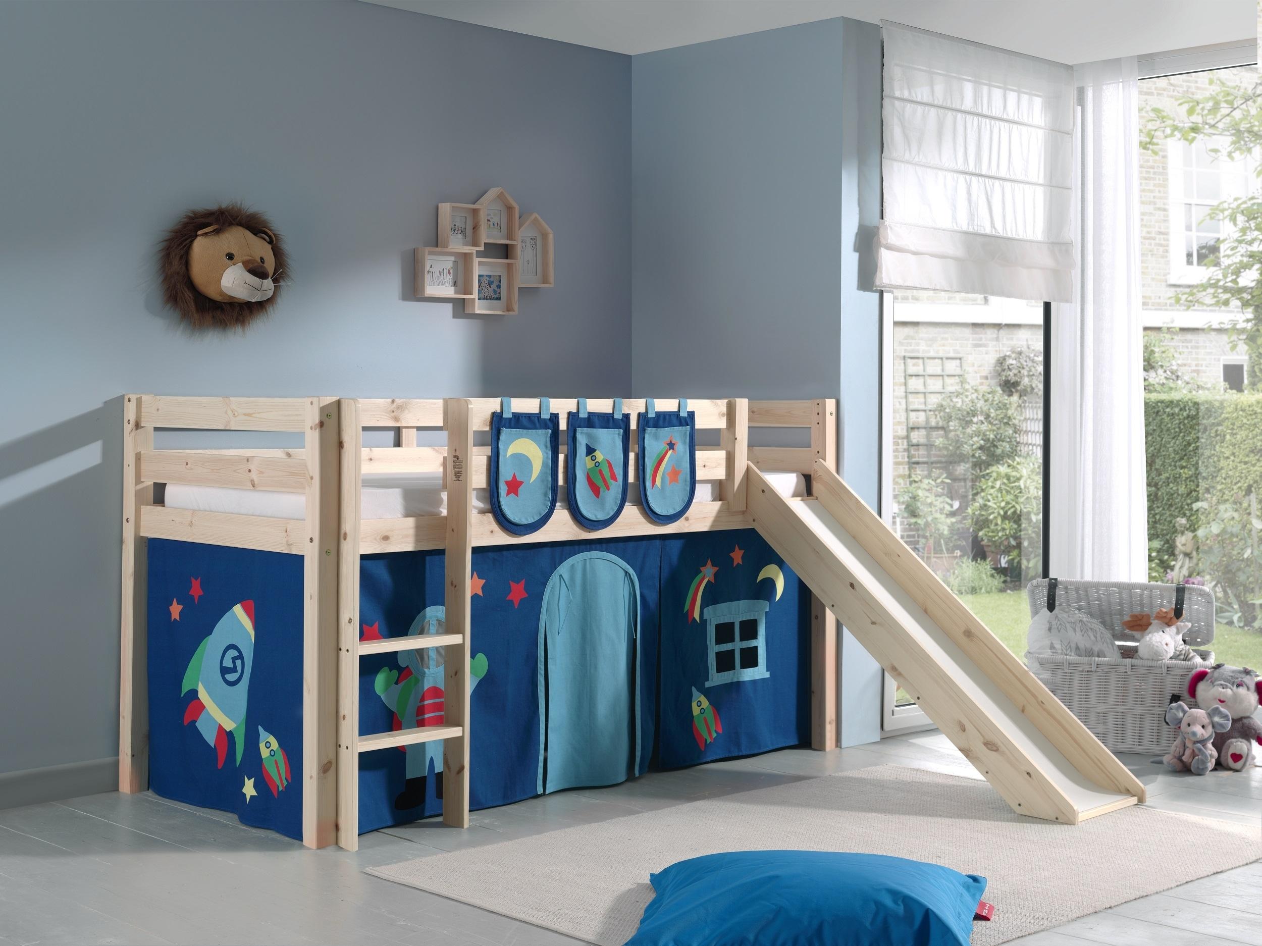 Pat etajat din lemn de pin, cu tobogan pentru copii Pino Plus Astro Natural, 200 x 90 cm