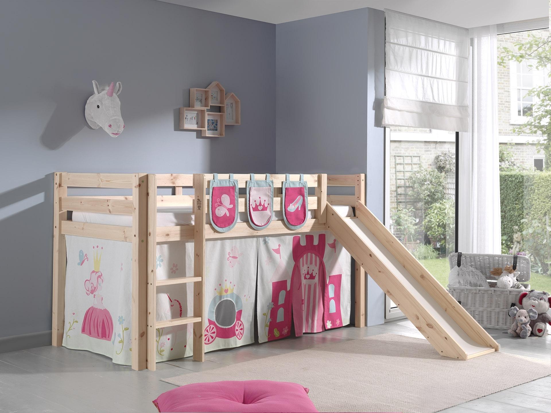 Pat etajat din lemn de pin, cu tobogan pentru copii Pino Plus Princess Natural, 200 x 90 cm