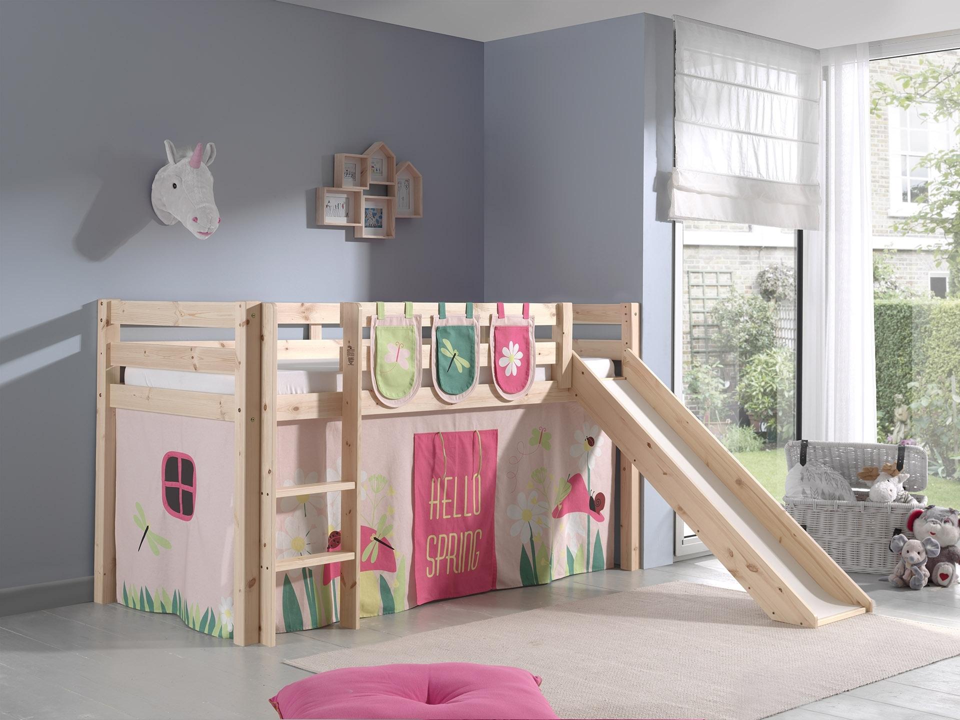 Pat etajat din lemn de pin, cu tobogan pentru copii Pino Plus Spring Natural, 200 x 90 cm