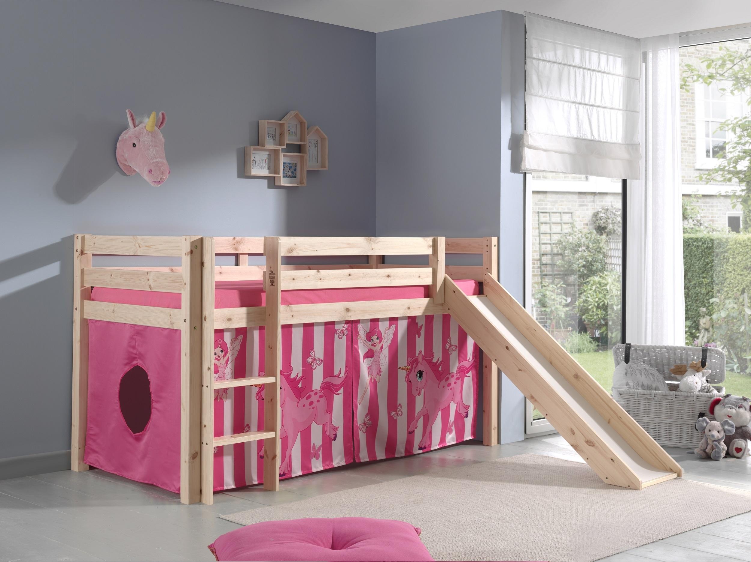Pat etajat din lemn de pin, cu tobogan pentru copii Pino Pony Natural, 200 x 90 cm imagine