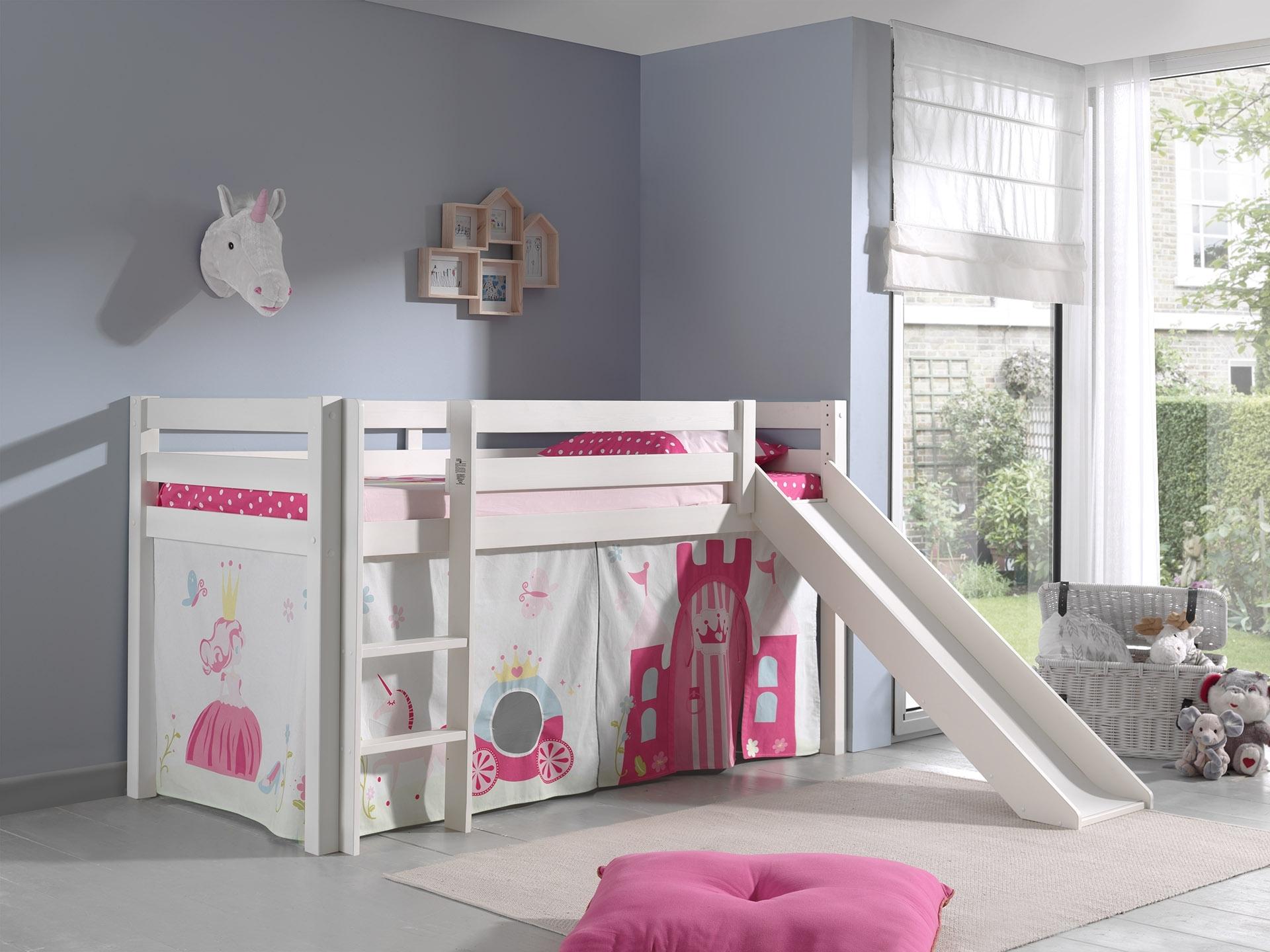 Pat etajat din lemn de pin, cu tobogan pentru copii Pino Princess Alb, 200 x 90 cm