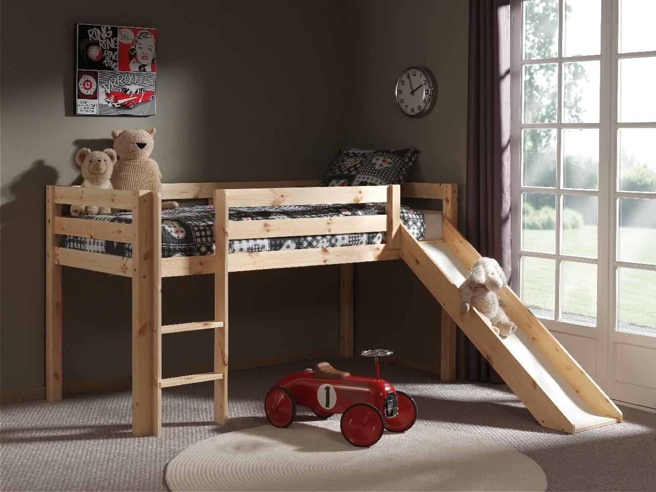 Pat etajat din lemn de pin, cu tobogan pentru copii Pino Simple Natural, 200 x 90 cm