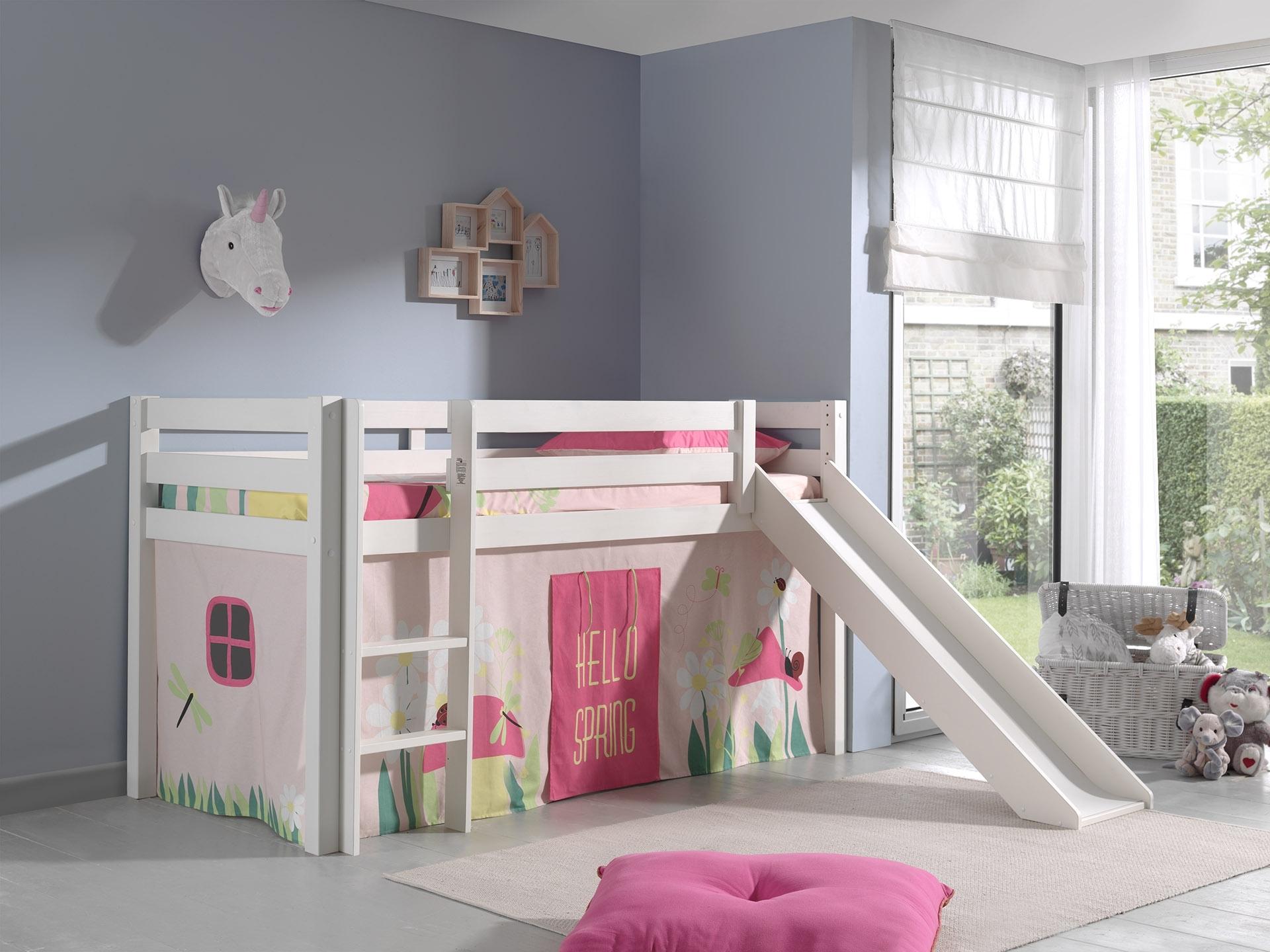 Pat etajat din lemn de pin, cu tobogan pentru copii Pino Spring Alb, 200 x 90 cm