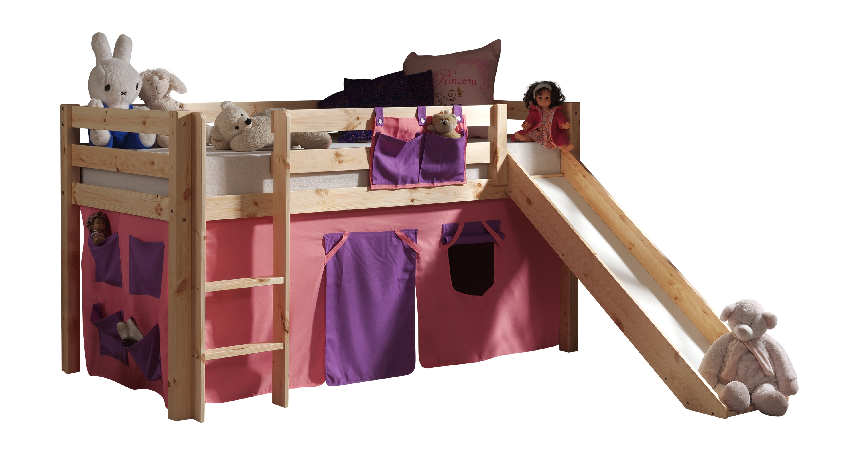 Pat etajat din lemn de pin, cu topogan pentru copii Pino Bella Pink Natural, 200 x 90 cm