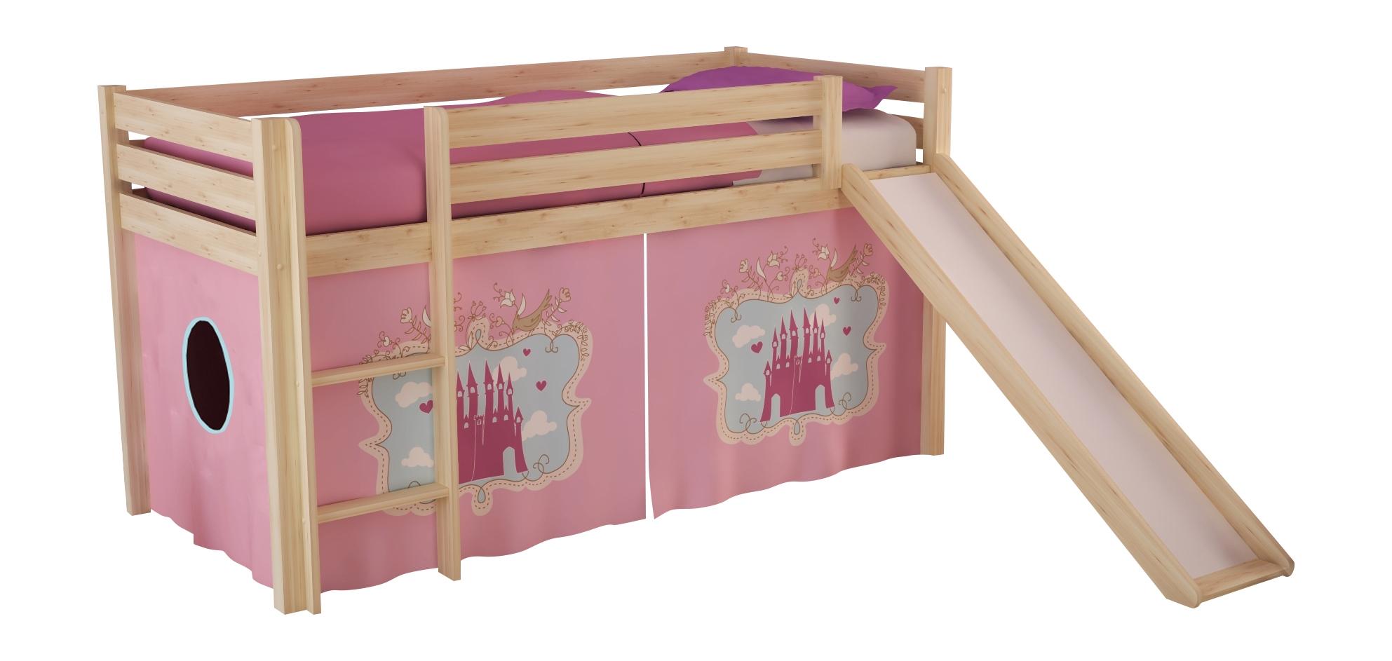 Pat etajat din lemn de pin, cu topogan pentru copii Pino Castle Natural, 200 x 90 cm