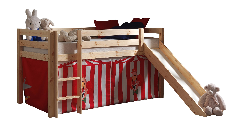 Pat etajat din lemn de pin, cu topogan pentru copii Pino Chucky Natural, 200 x 90 cm