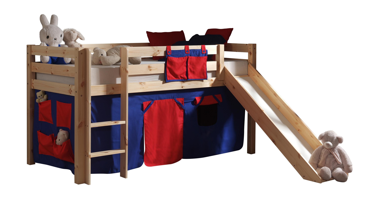 Pat etajat din lemn de pin, cu topogan pentru copii Pino Domino Natural, 200 x 90 cm