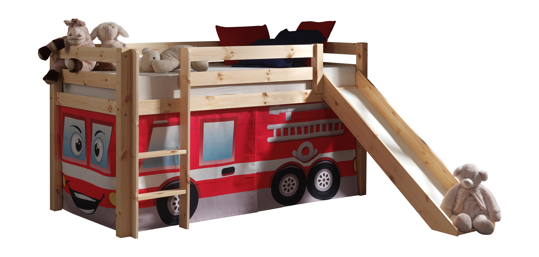 Pat etajat din lemn de pin, cu topogan pentru copii Pino Fire Rescue Natural, 200 x 90 cm