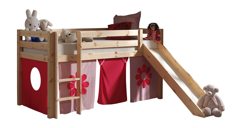 Pat etajat din lemn de pin, cu topogan pentru copii Pino Pink Flower Natural, 200 x 90 cm