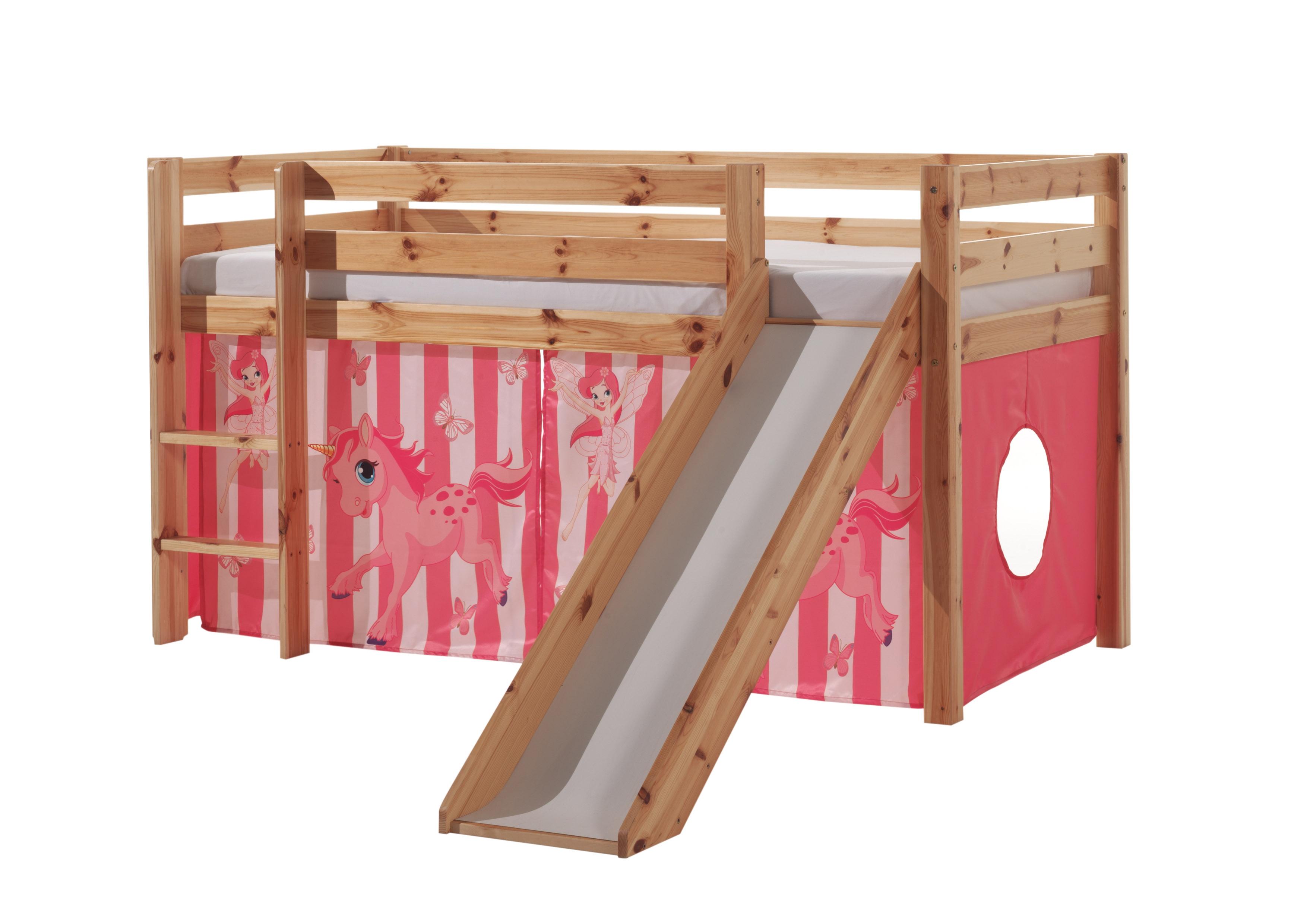 Pat etajat din lemn de pin, cu topogan pentru copii Pino Pony Natural, 200 x 90 cm