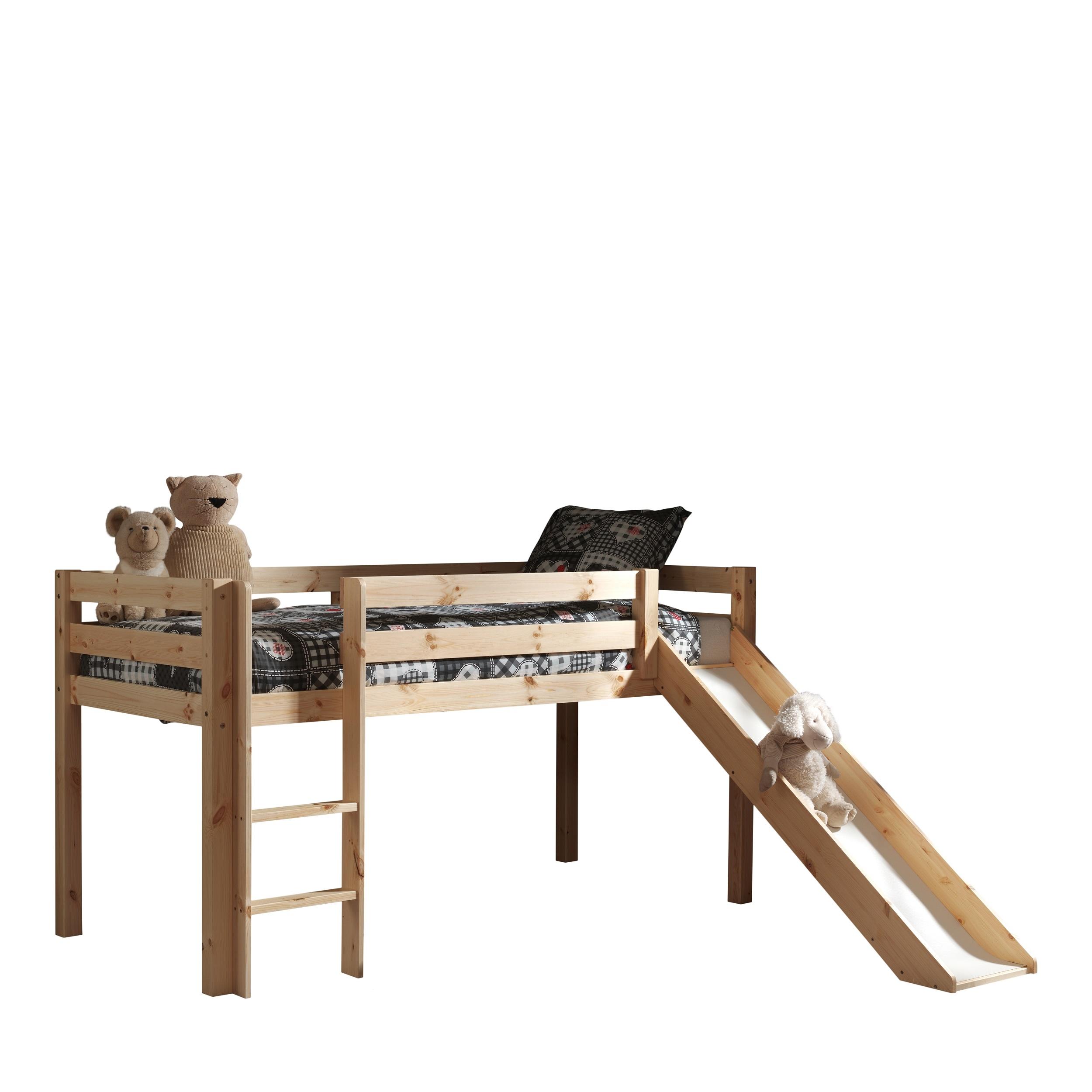 Pat etajat din lemn de pin, cu topogan pentru copii Pino Simple Natural, 200 x 90 cm