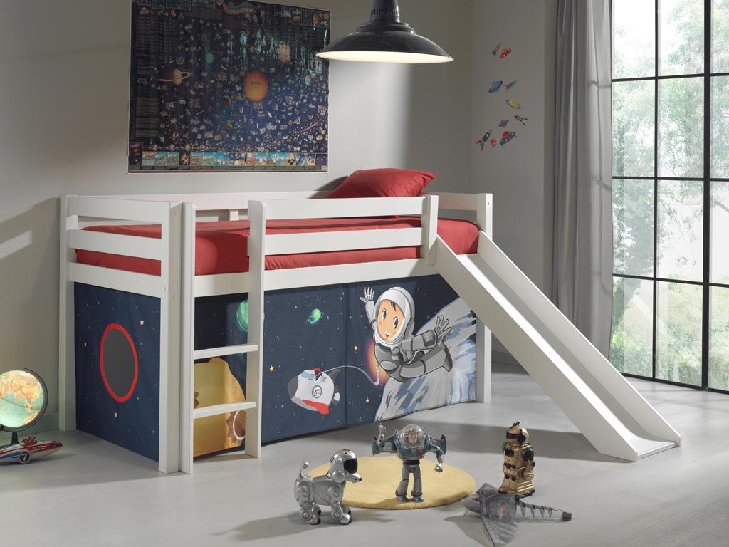 Pat etajat din lemn de pin, cu tobogan pentru copii Pino Space Alb, 200 x 90 cm