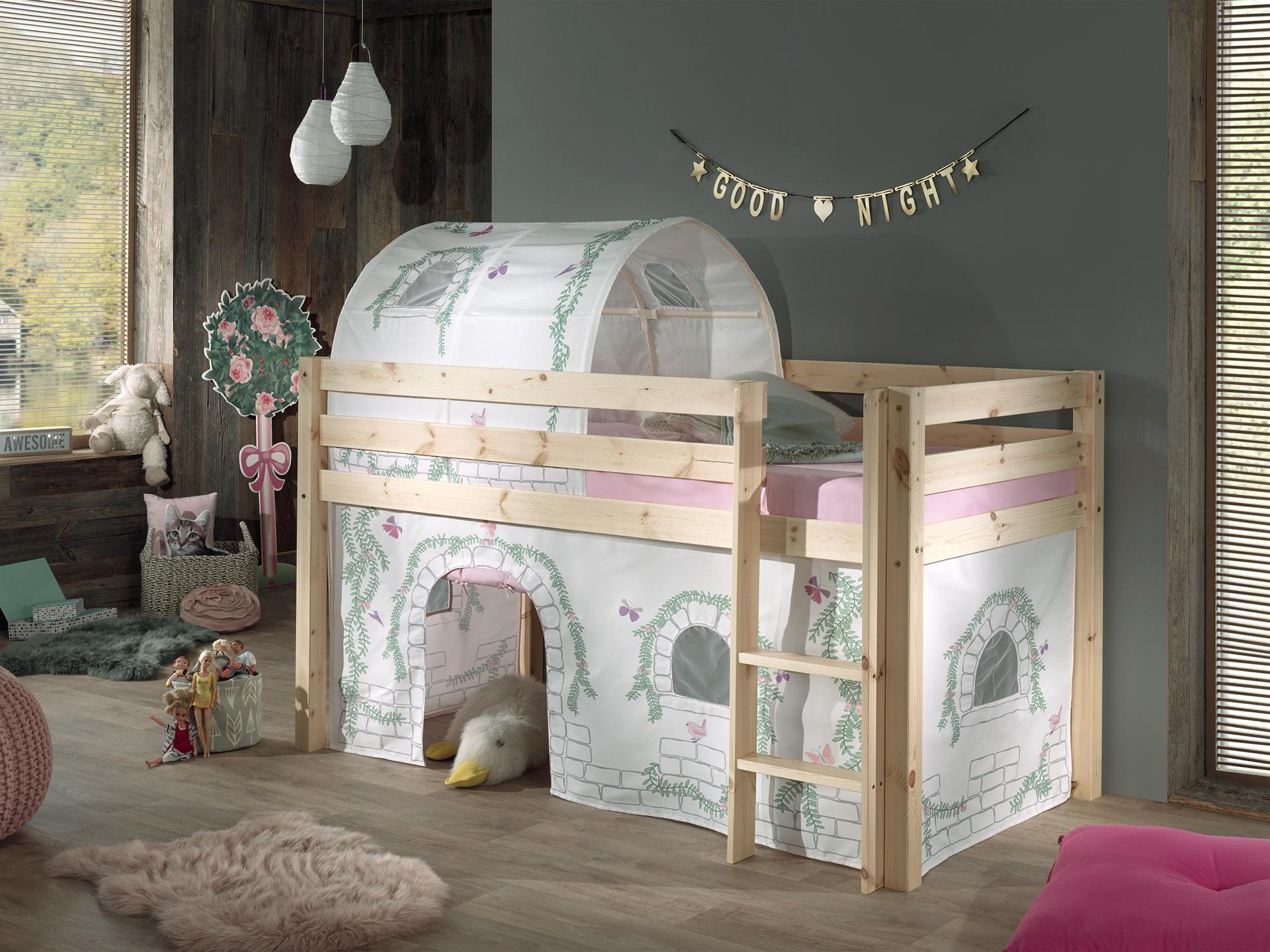 Pat etajat din lemn de pin, cu tunel si spatiu de joaca pentru copii Pino Birdy Natural, 200 x 90 cm