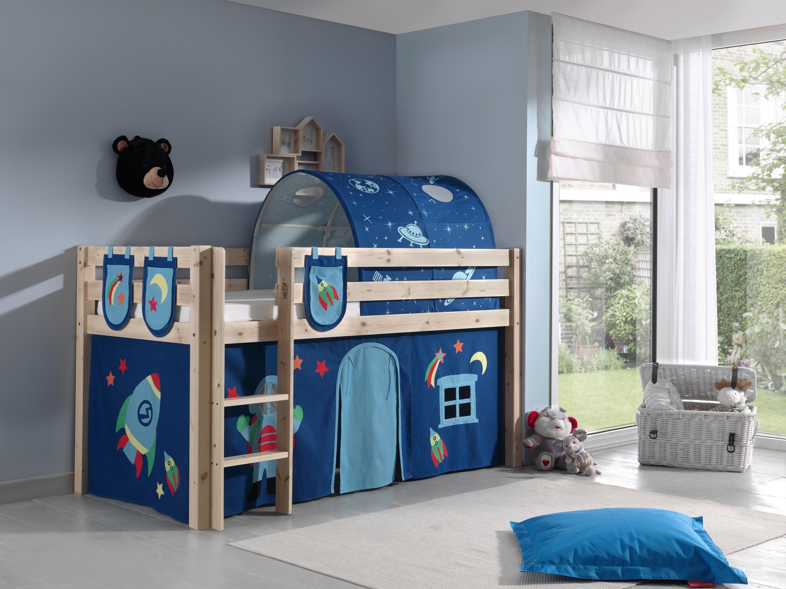 Pat etajat din lemn de pin, cu tunel si spatiu de joaca pentru copii Pino Plus Astro Natural, 200 x 90 cm somproduct.ro