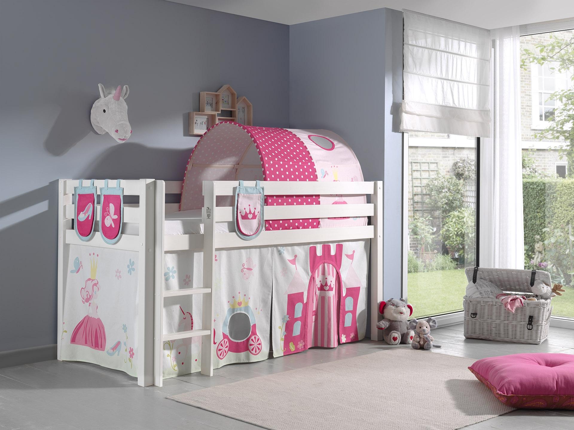 Pat etajat din lemn de pin, cu tunel si spatiu de joaca pentru copii Pino Plus Princess Alb, 200 x 90 cm imagine