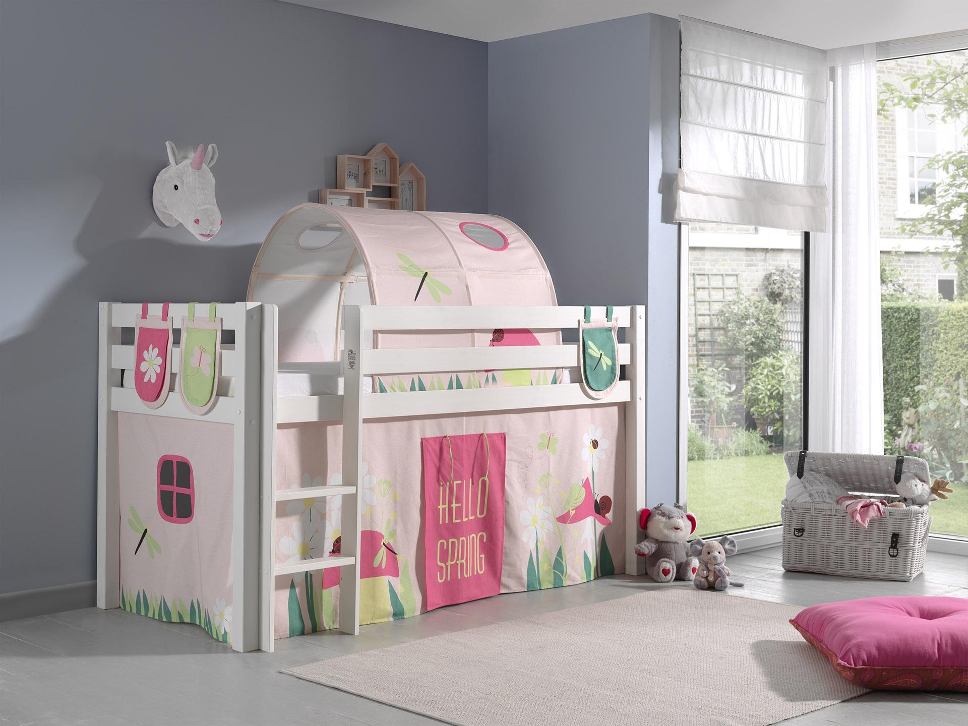Pat etajat din lemn de pin, cu tunel si spatiu de joaca pentru copii Pino Plus Spring Alb, 200 x 90 cm imagine