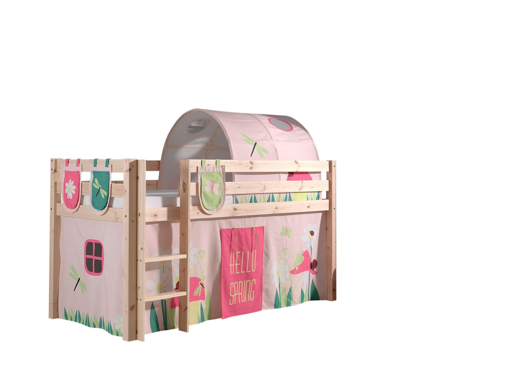 Pat etajat din lemn de pin, cu tunel si spatiu de joaca pentru copii Pino Plus Spring Natural, 200 x 90 cm