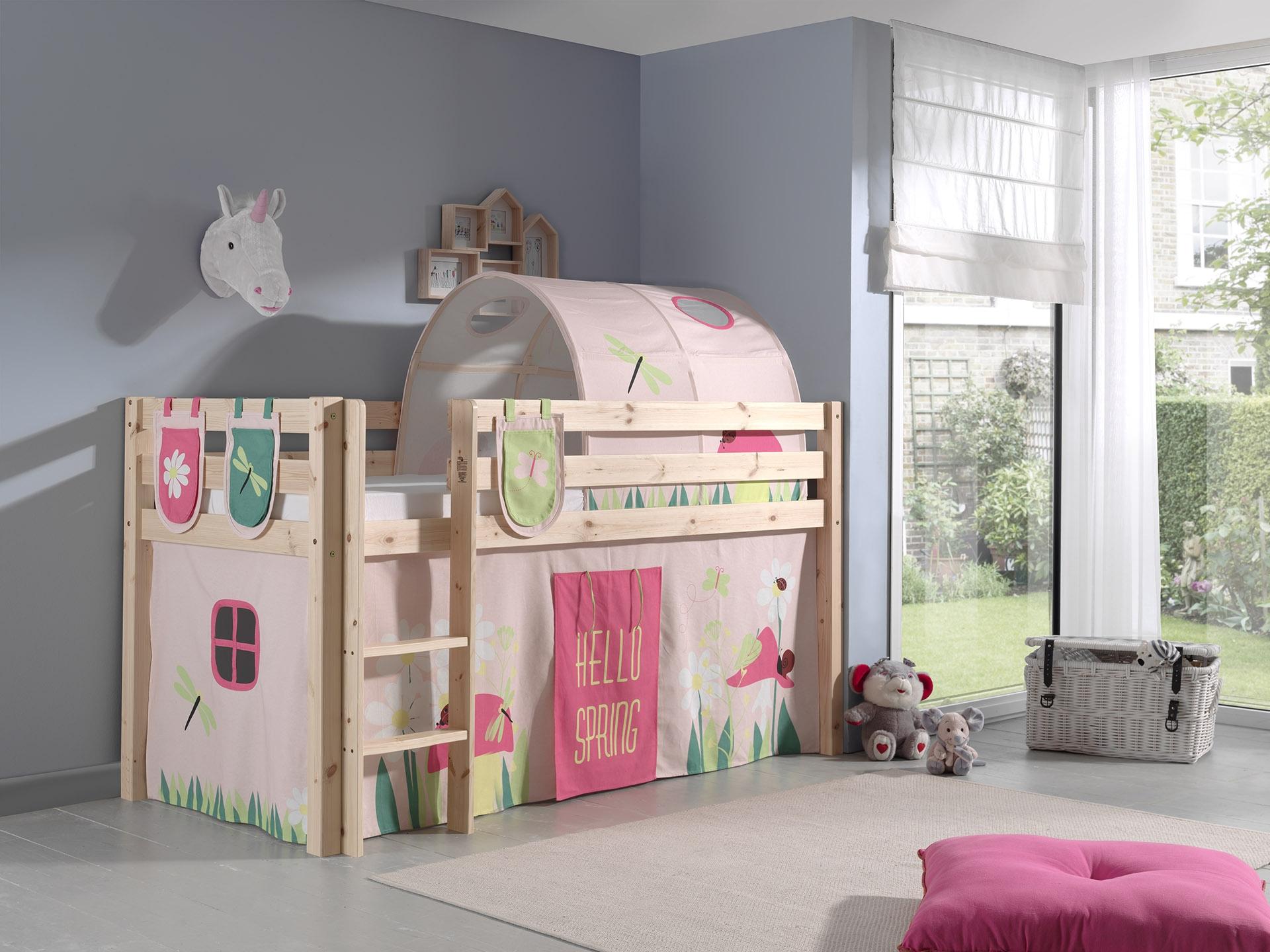 Pat etajat din lemn de pin, cu tunel si spatiu de joaca pentru copii Pino Plus Spring Natural, 200 x 90 cm imagine