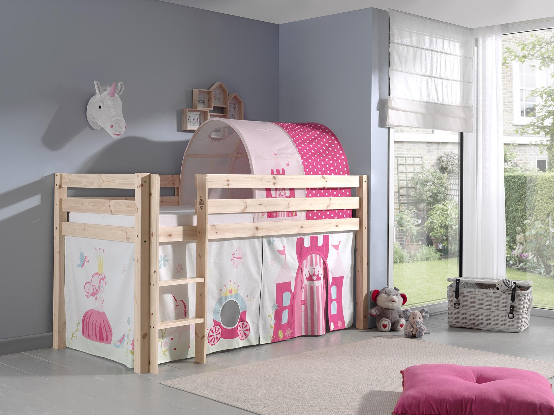 Pat etajat din lemn de pin, cu tunel si spatiu de joaca pentru copii Pino Princess Natural, 200 x 90 cm