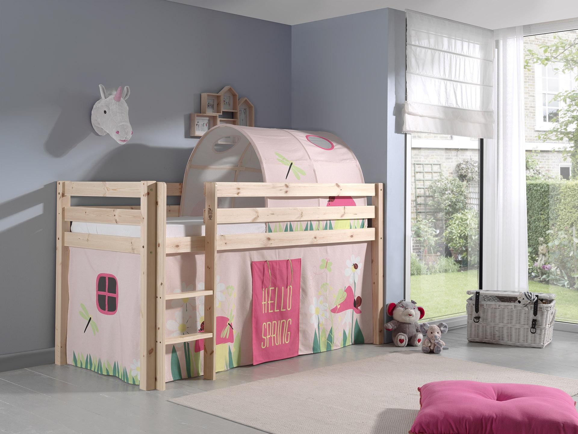 Pat etajat din lemn de pin, cu tunel si spatiu de joaca pentru copii Pino Spring Natural, 200 x 90 cm imagine