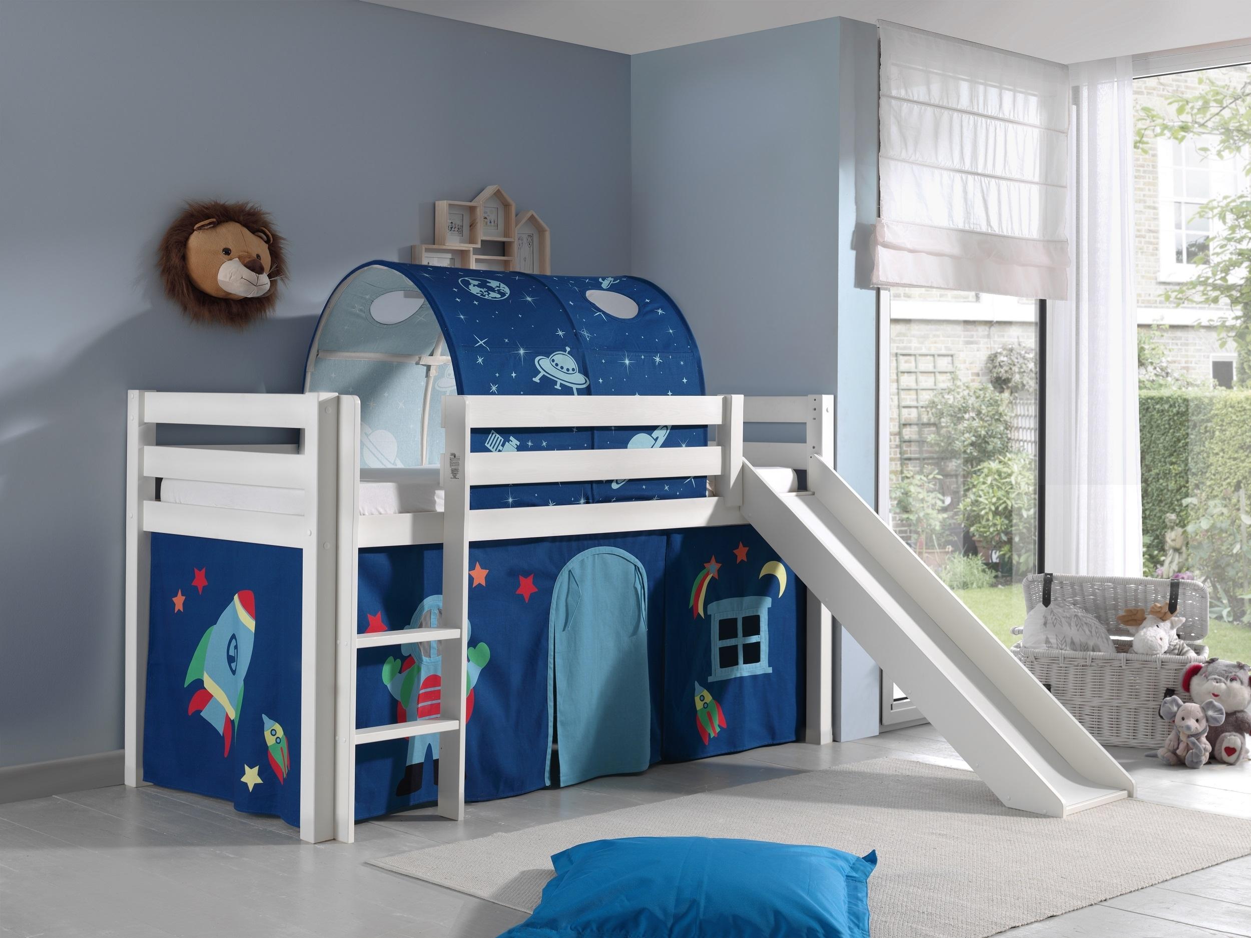 Pat etajat din lemn de pin, cu tunel si tobogan pentru copii Pino Astro Alb, 200 x 90 cm
