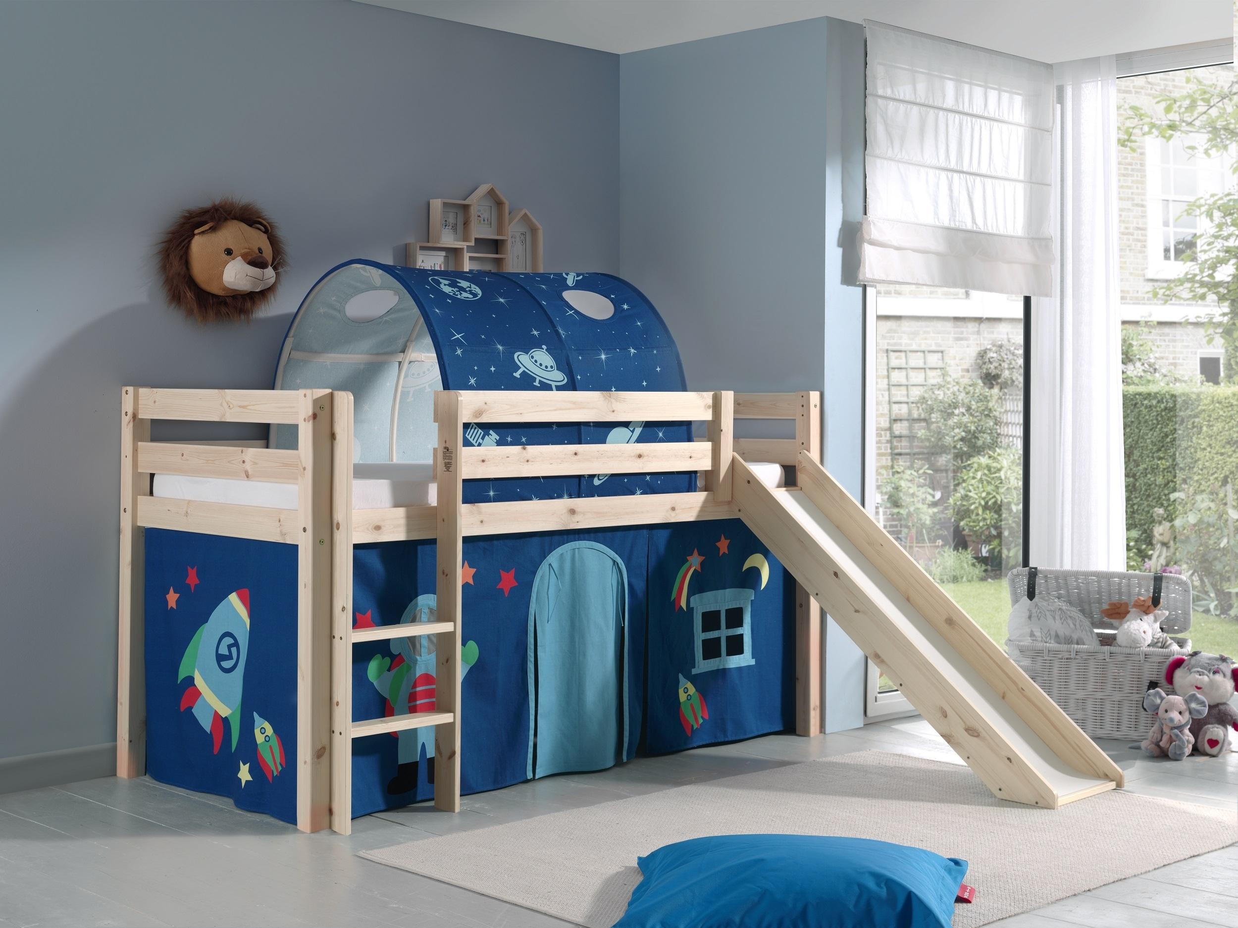 Pat etajat din lemn de pin, cu tunel si tobogan pentru copii Pino Astro Natural, 200 x 90 cm