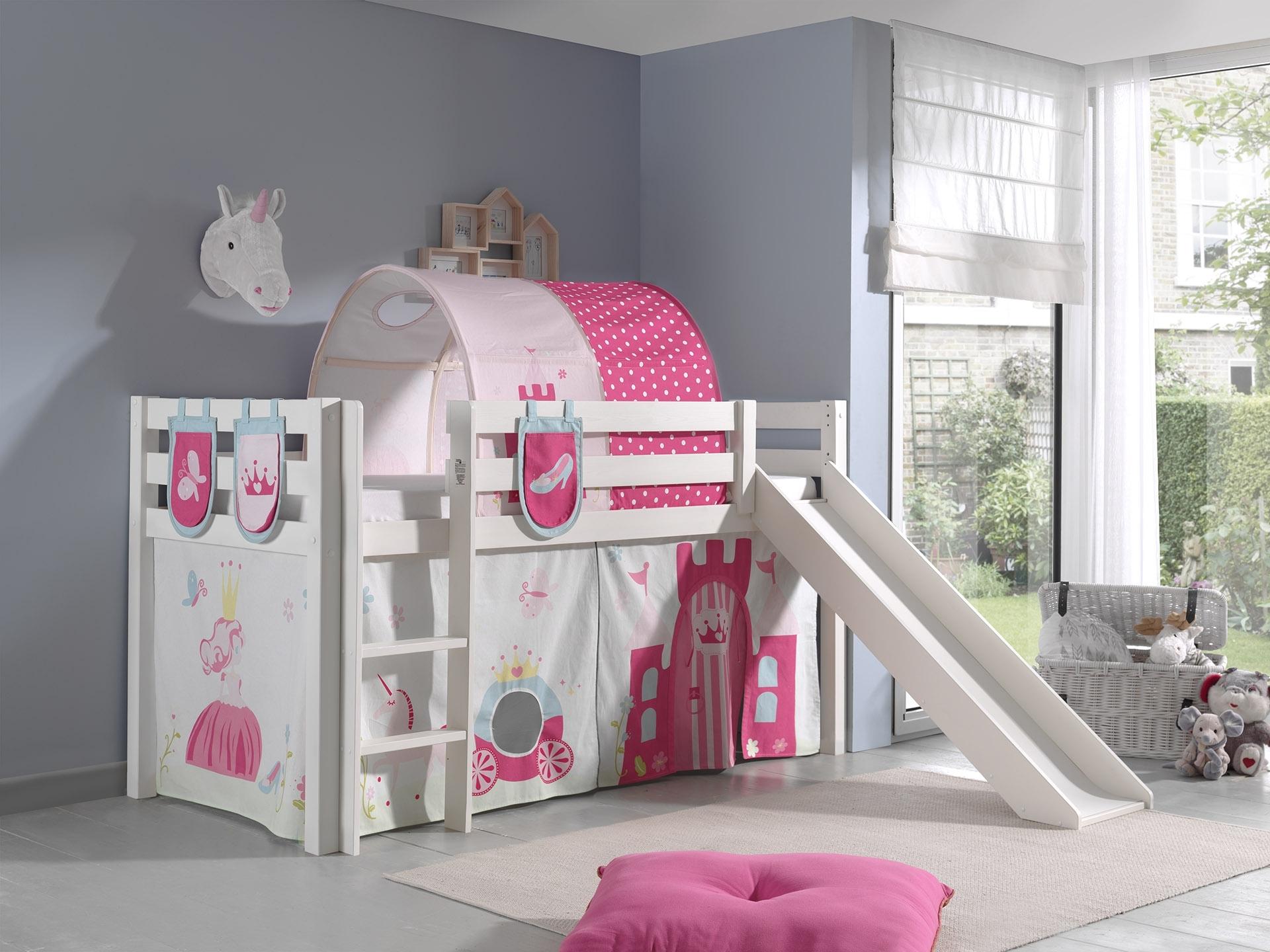 Pat etajat din lemn de pin, cu tunel si tobogan pentru copii Pino Plus Princess Alb, 200 x 90 cm