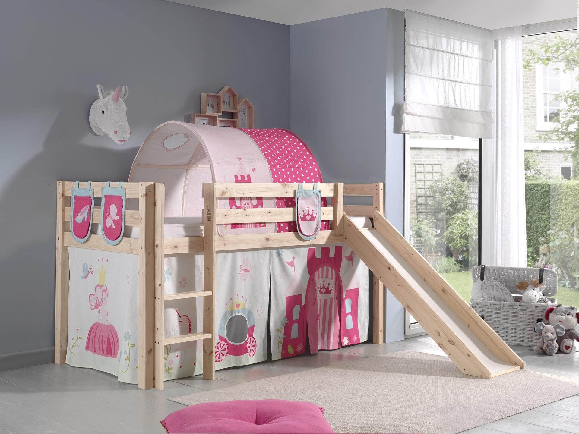 Pat etajat din lemn de pin, cu tunel si tobogan pentru copii Pino Plus Princess Natural, 200 x 90 cm