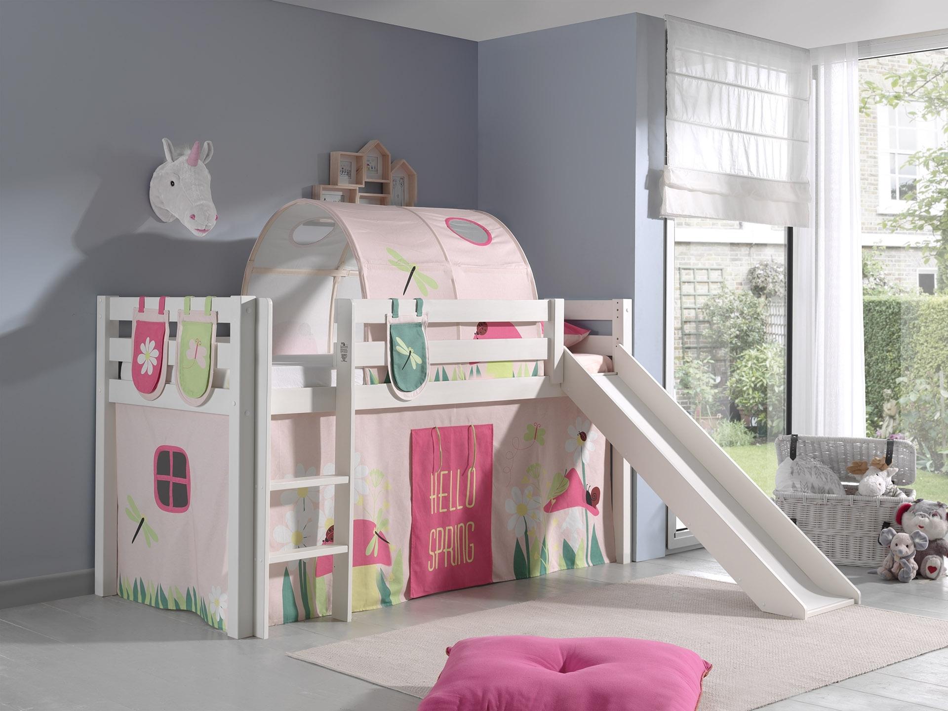 Pat etajat din lemn de pin, cu tunel si tobogan pentru copii Pino Plus Spring Alb, 200 x 90 cm
