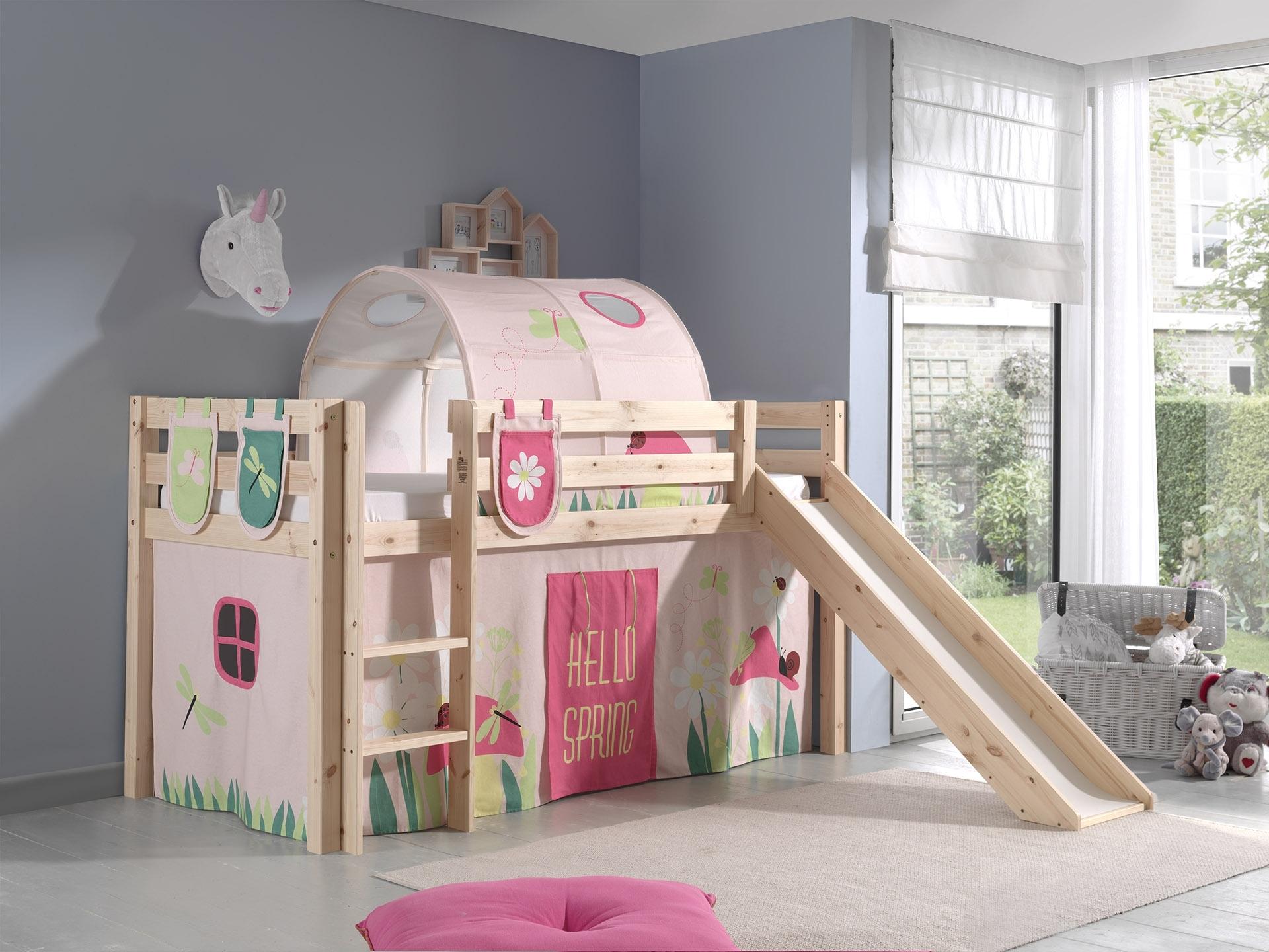 Pat etajat din lemn de pin, cu tunel si tobogan pentru copii Pino Plus Spring Natural, 200 x 90 cm imagine