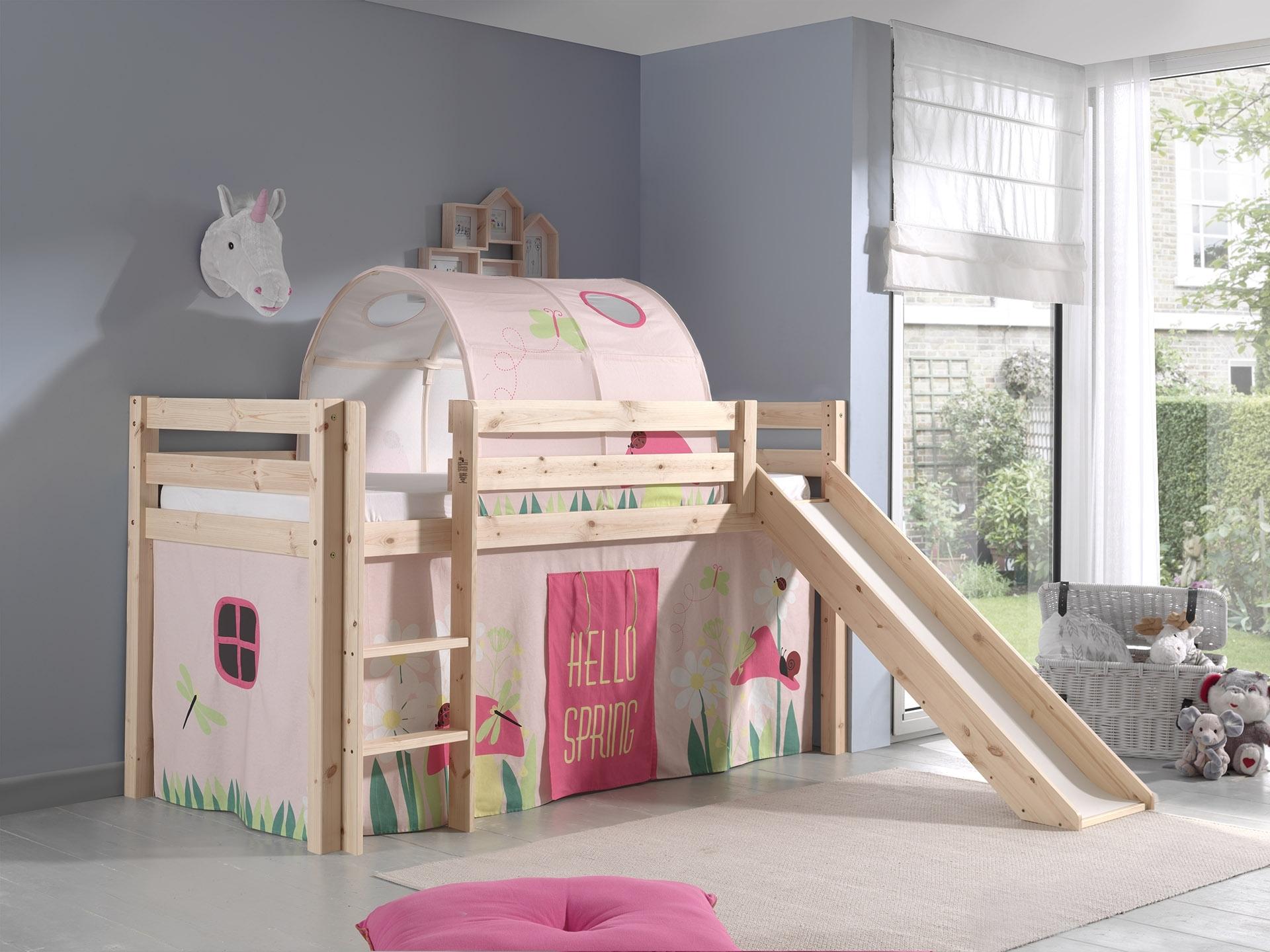 Pat etajat din lemn de pin, cu tunel si tobogan pentru copii Pino Spring Natural, 200 x 90 cm