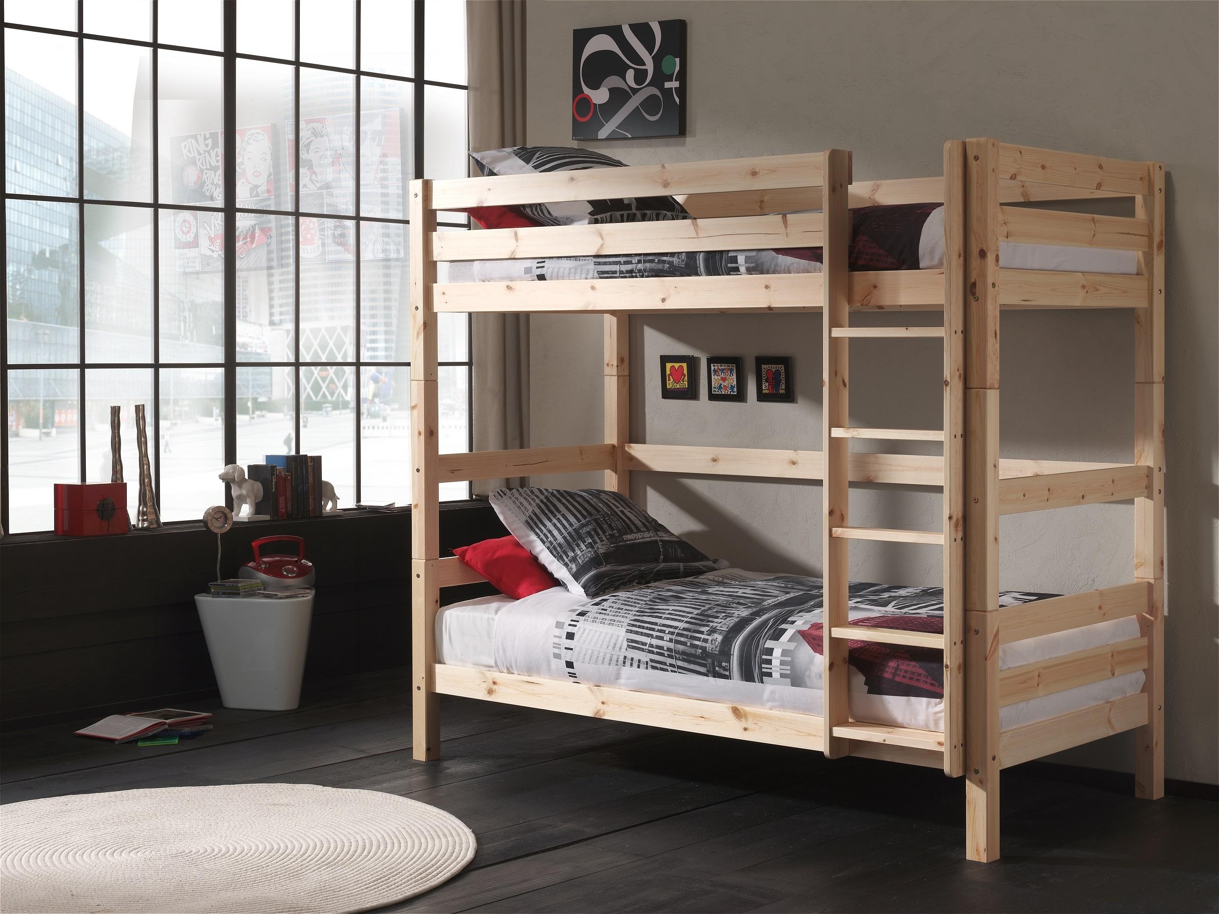 Pat etajat din lemn de pin pentru copii Pino Tall Natural, 200 x 90 cm imagine