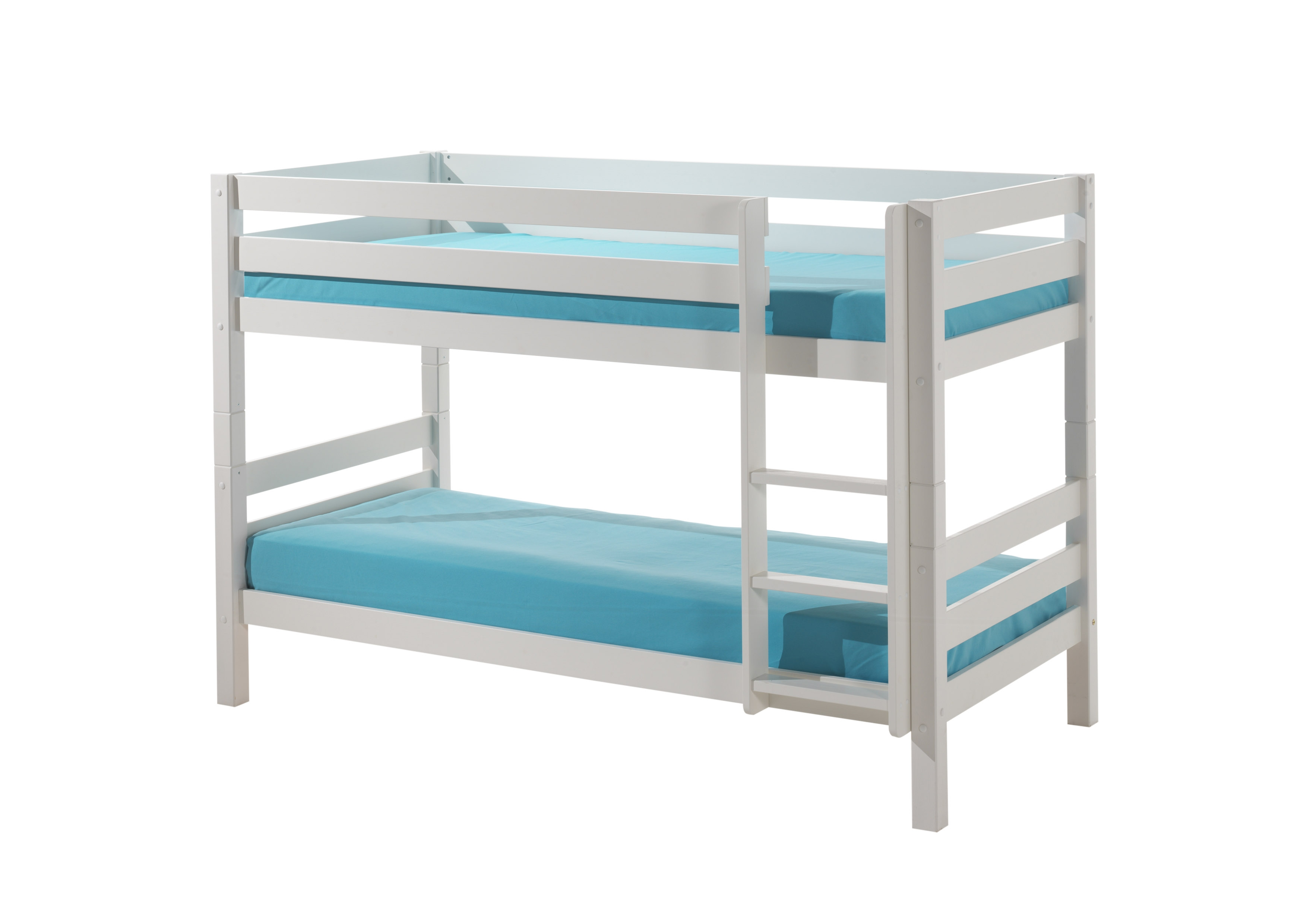 Pat etajat din lemn de pin pentru copii Pino Small Alb, 200 x 90 cm