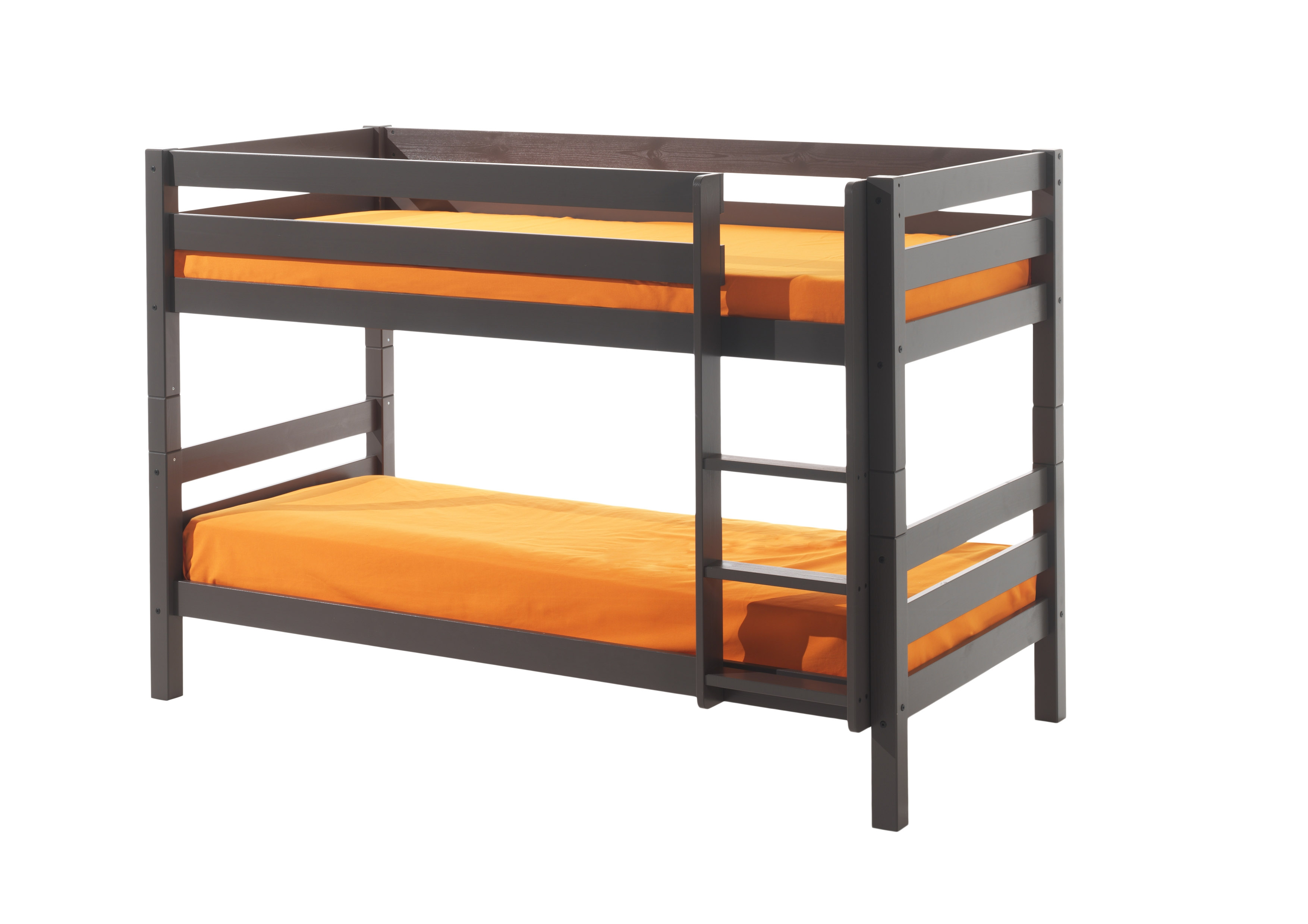 Pat etajat din lemn de pin pentru copii Pino Small Grej, 200 x 90 cm