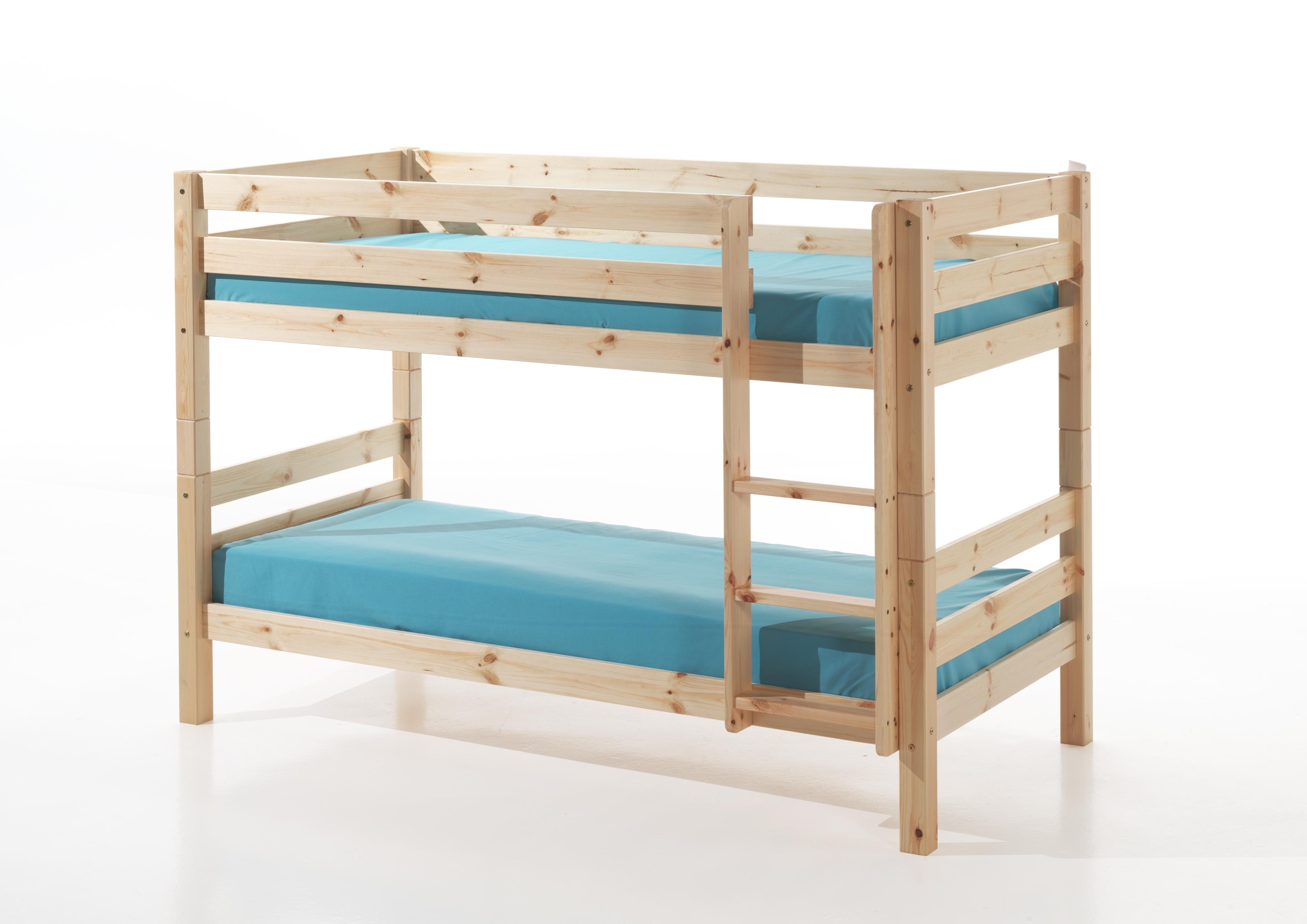 Pat etajat din lemn de pin pentru copii Pino Small Natural, 200 x 90 cm
