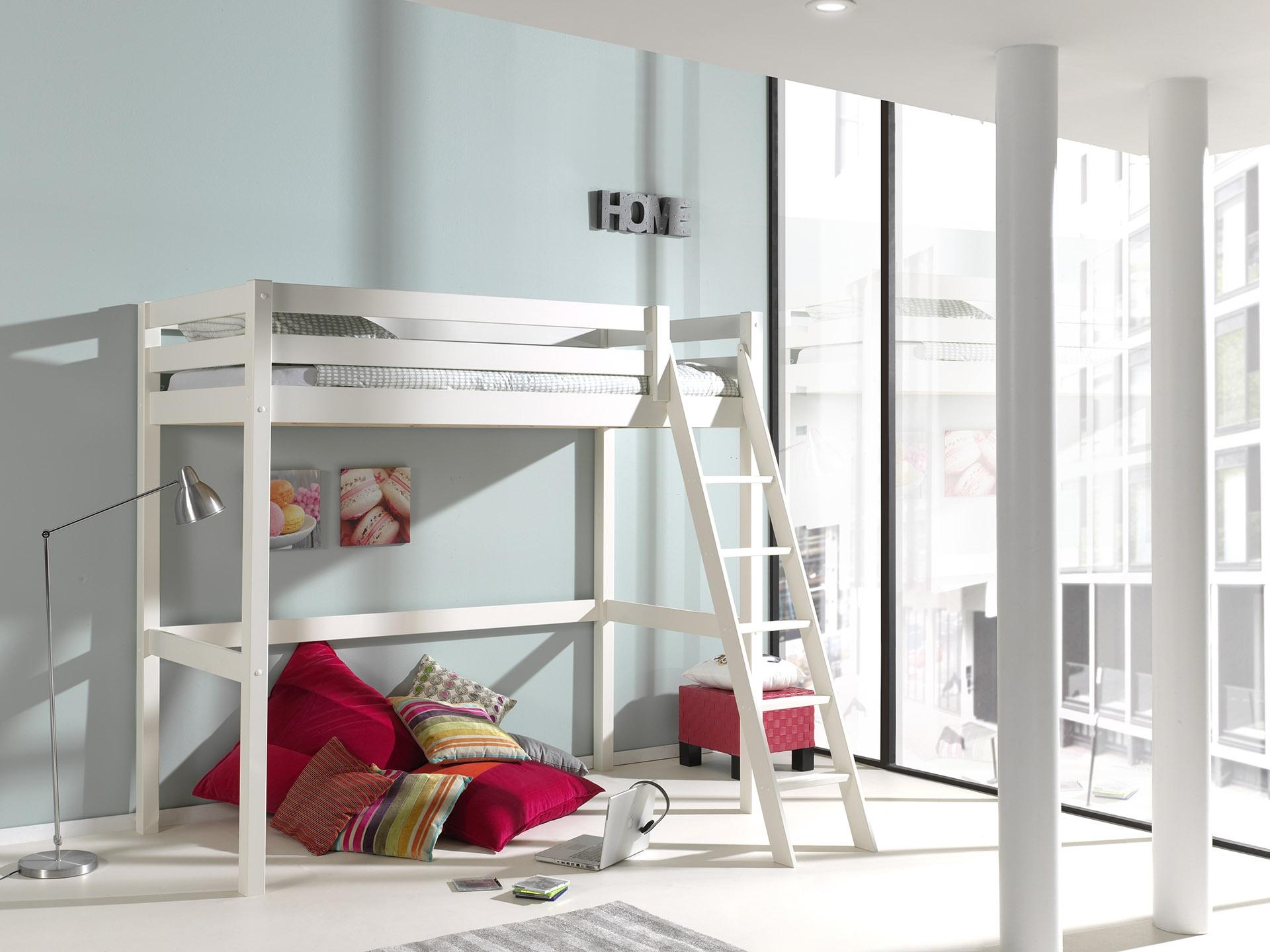 Pat etajat din lemn de pin pentru copii si tineret Pino Mezzanine II Alb imagine