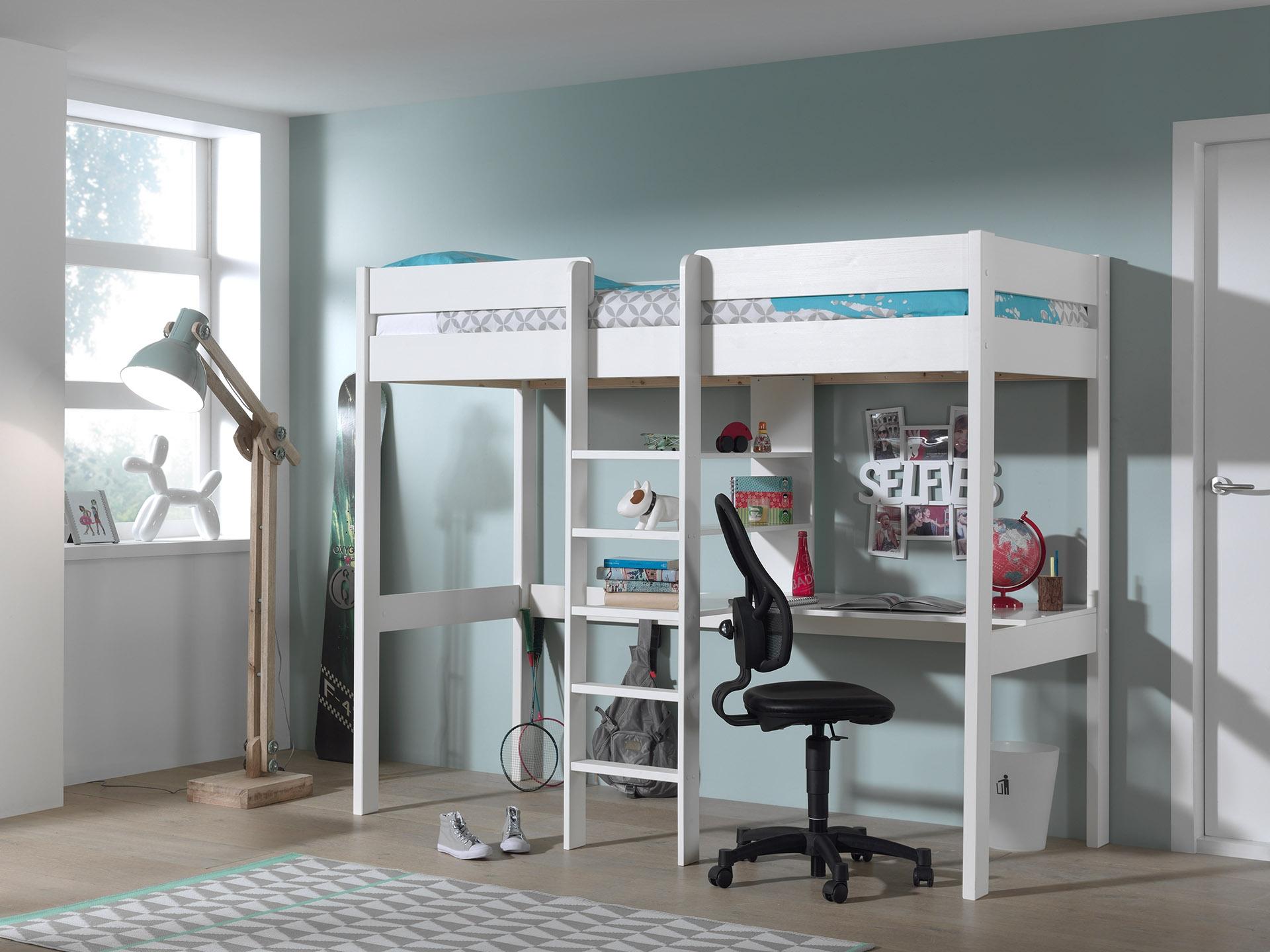 Pat etajat din lemn de pin si MDF cu birou incorporat, pentru copii Pino Mezzanine Alb, 200 x 90 cm
