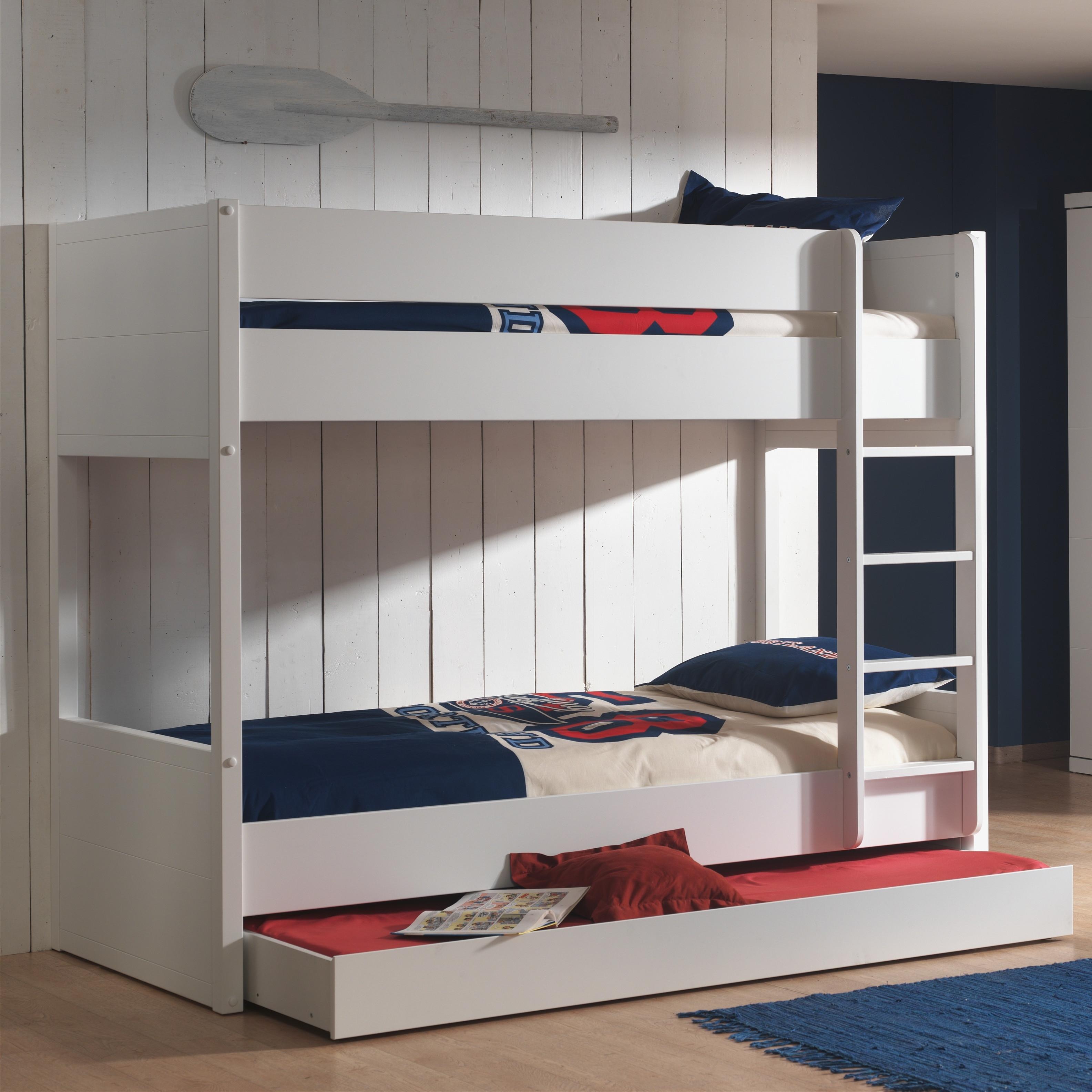 Pat etajat din lemn de pin si MDF, cu sertar pentru copii Lara Alb, 200 x 90 cm